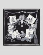 纹章图案印花口袋巾