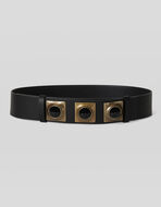 CROWN ME LEATHER BELT WITH CABOCHON STUDS