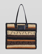 SHOPPING BAG WITH CROCHET EMBROIDERY