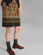 佩斯利印花束腰连衣裙