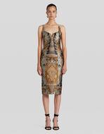 PATCHWORK JACQUARD SHEATH DRESS
