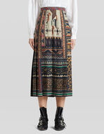 EMBROIDERY-EFFECT PRINT PLEATED SKIRT