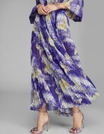 甘蓝印花褶皱长裙