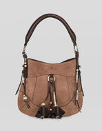 SUEDE BAG WITH TASSELS AND MICRO PEGASO