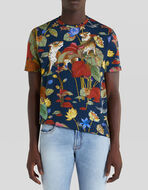 T-SHIRT WITH PRINTED TIGERS AND WATERLILIES