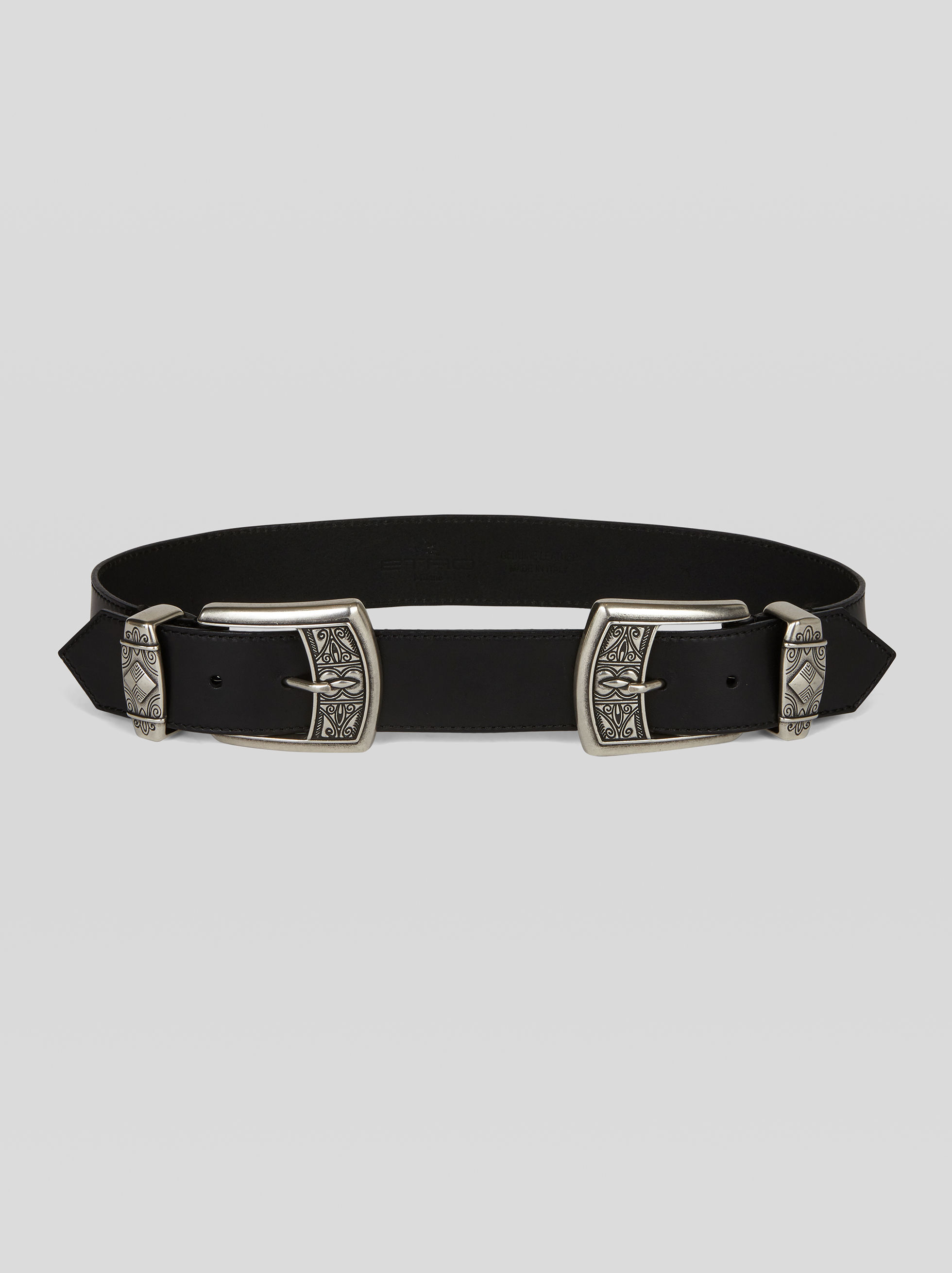 LEATHER BELT WITH DOUBLE BUCKLE