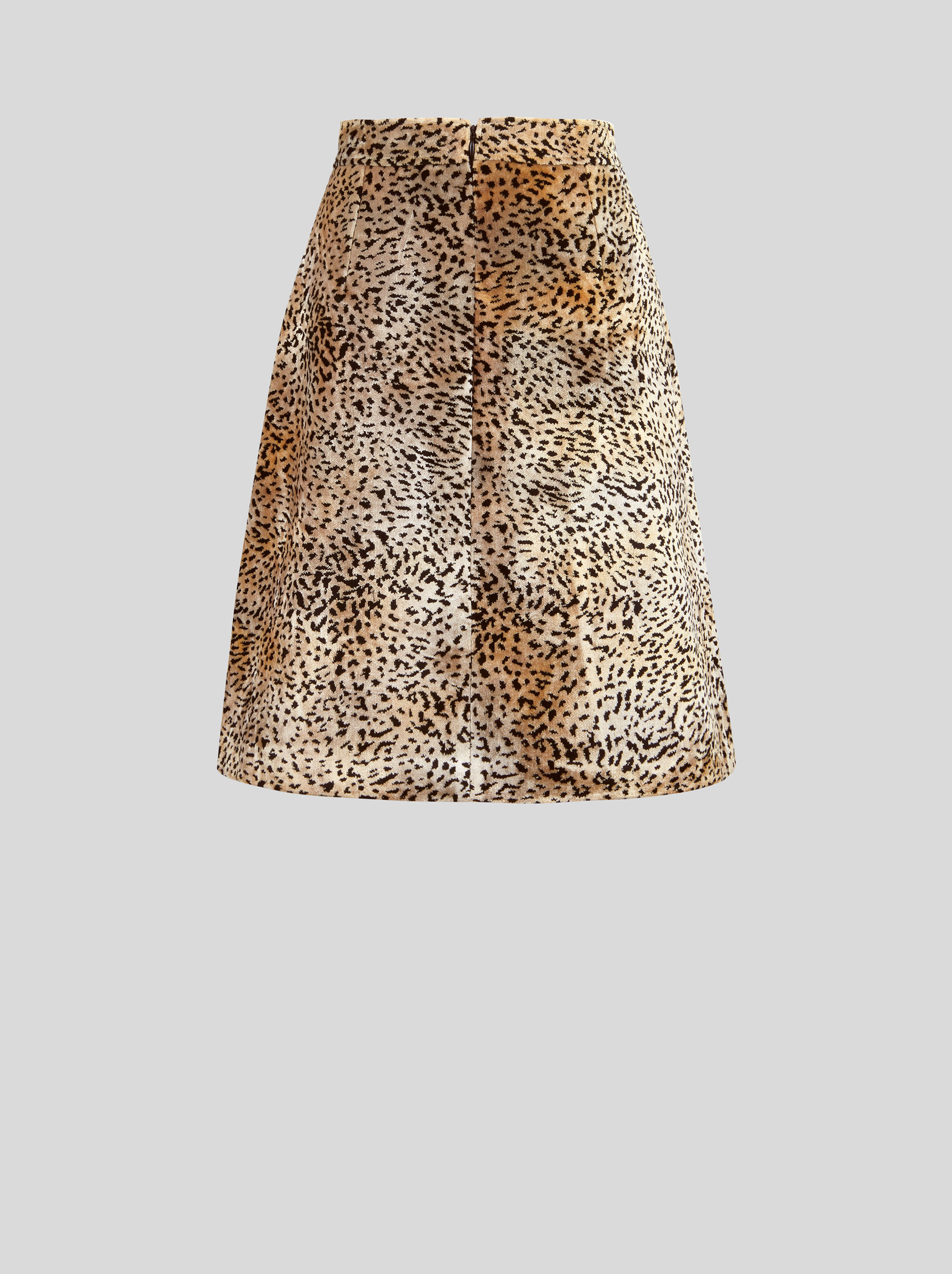 SHORT ANIMAL-PRINT VELVET SKIRT