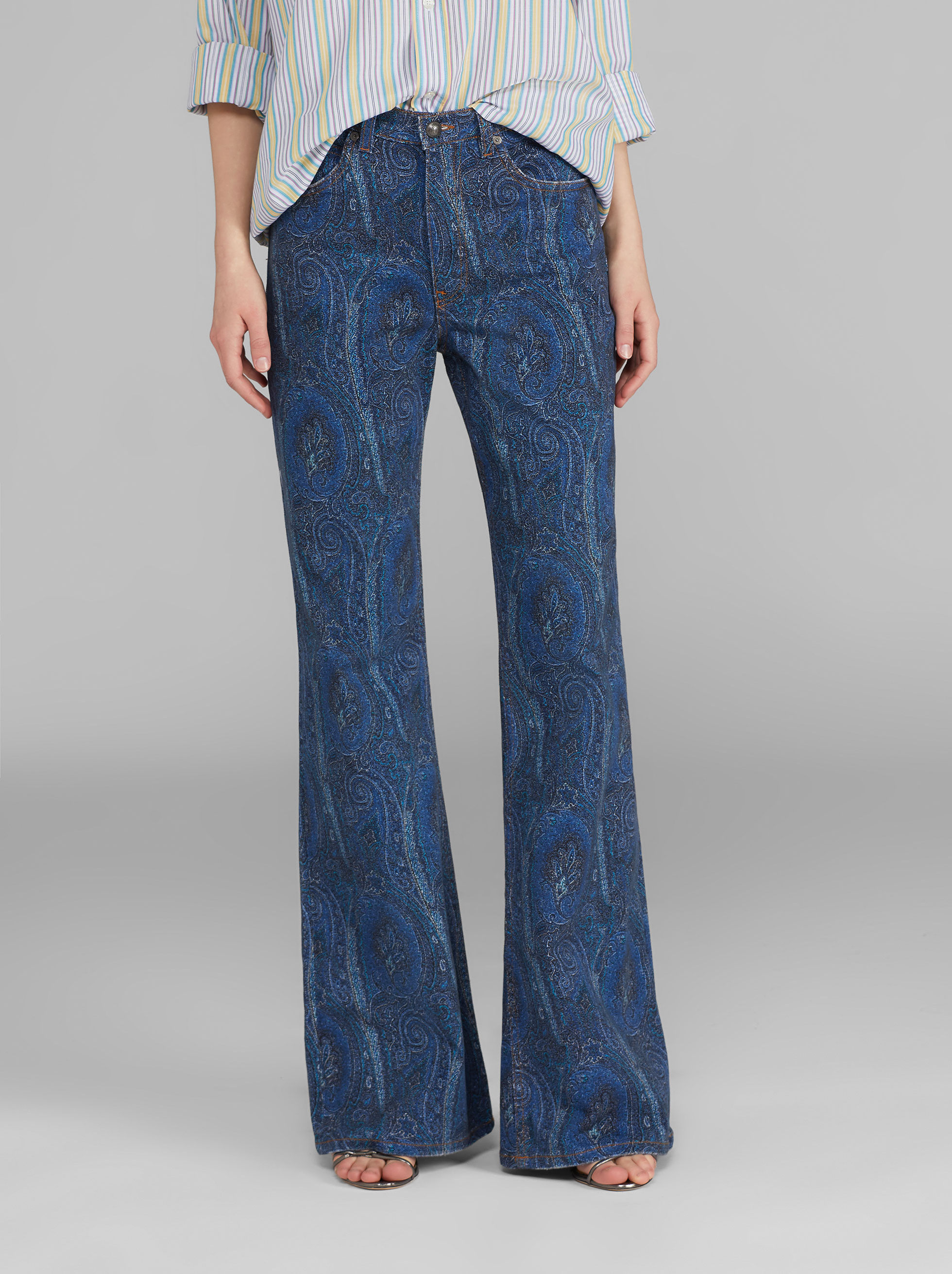 FLARED JEANS WITH PAISLEY PRINT