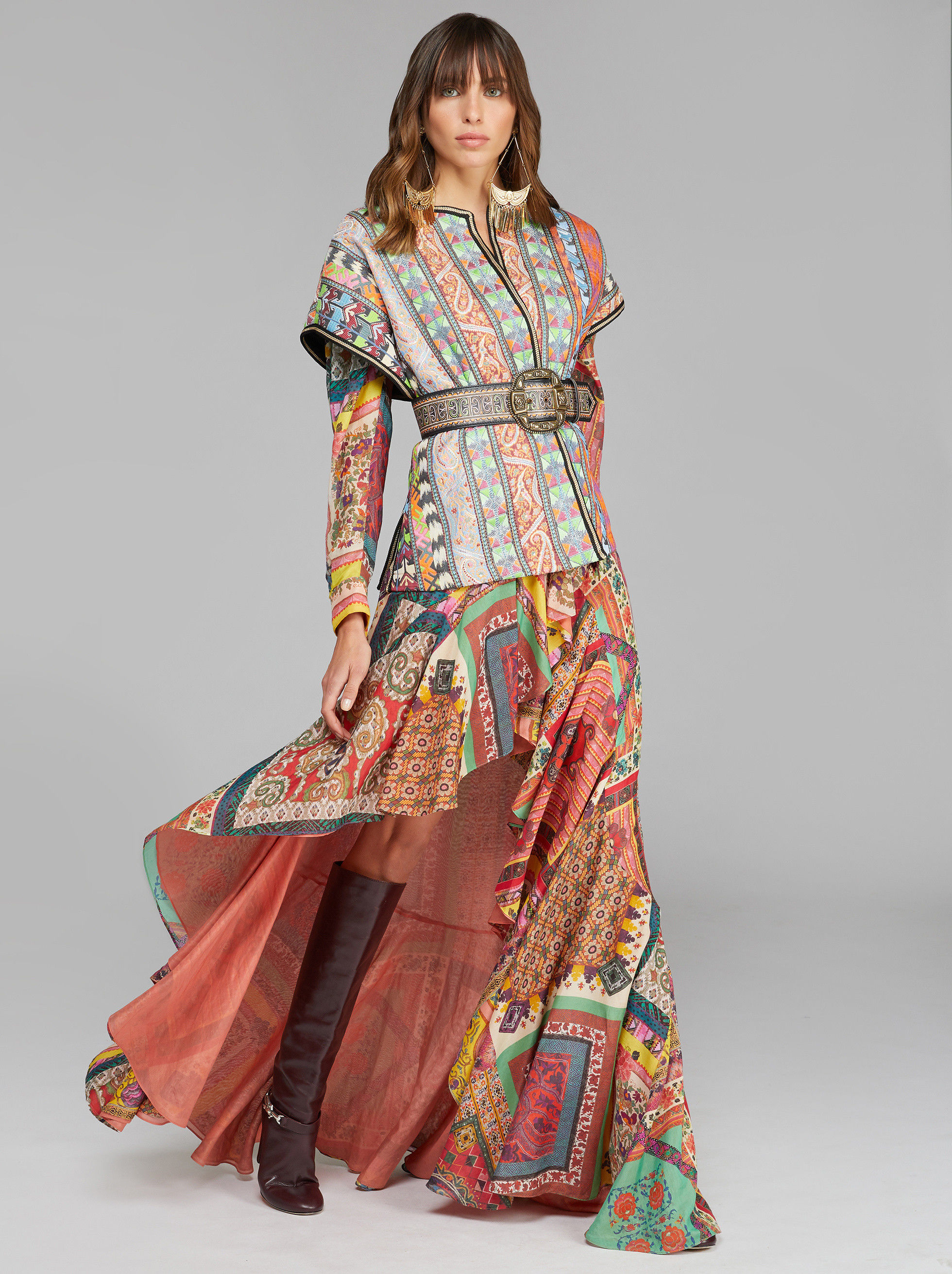 LONG PATCHWORK PATTERN DRESS