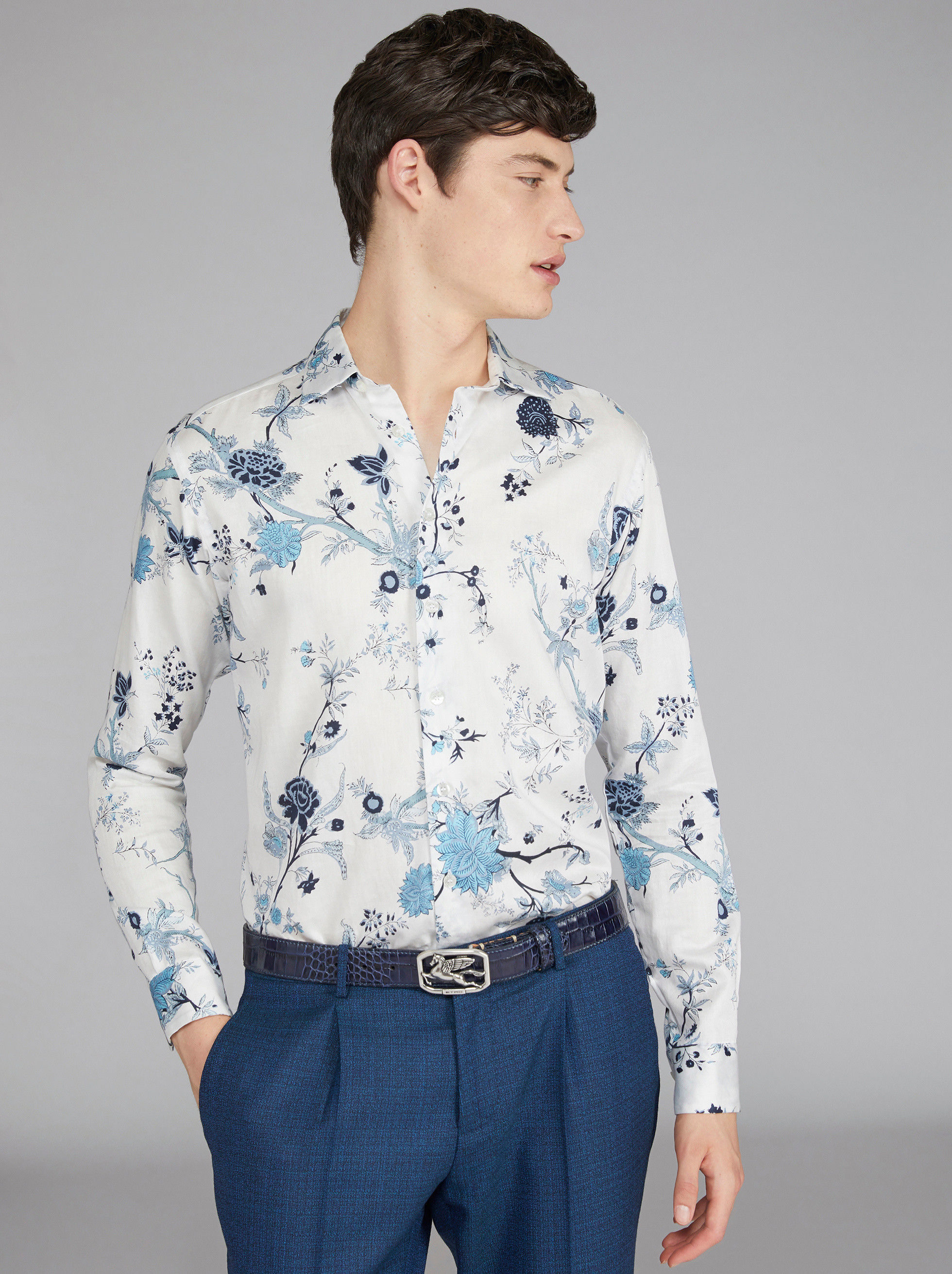 FLOWER PRINT COTTON SHIRT