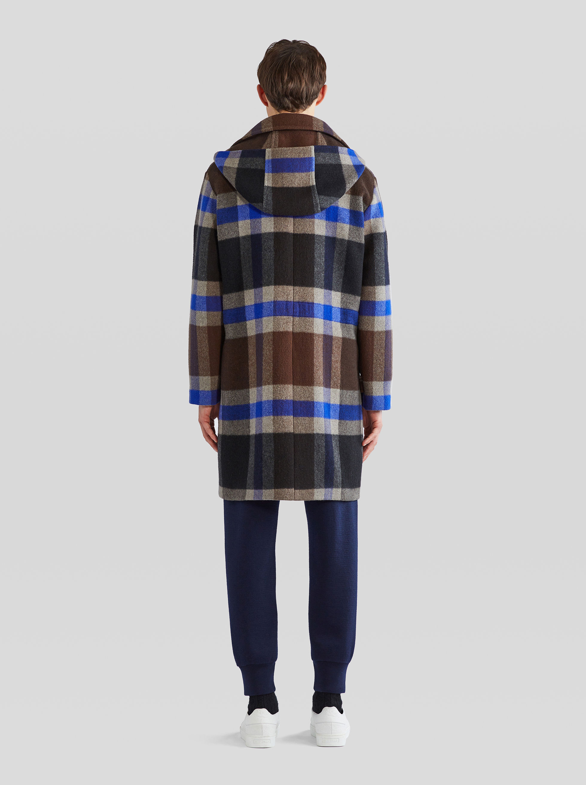 CHECK WOOL AND CASHMERE PARKA