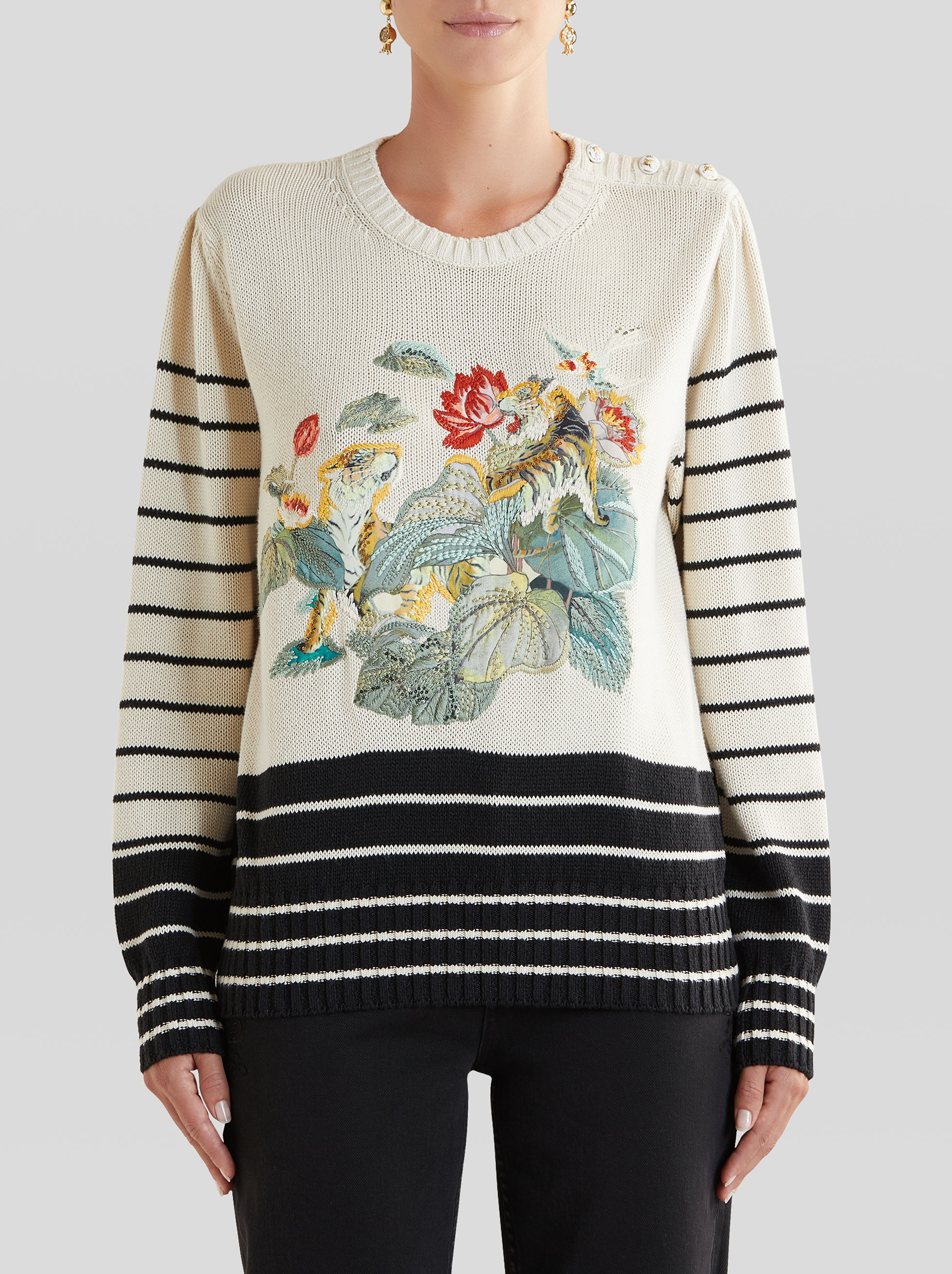 JUMPER WITH WATER LILY AND TIGER EMBROIDERY
