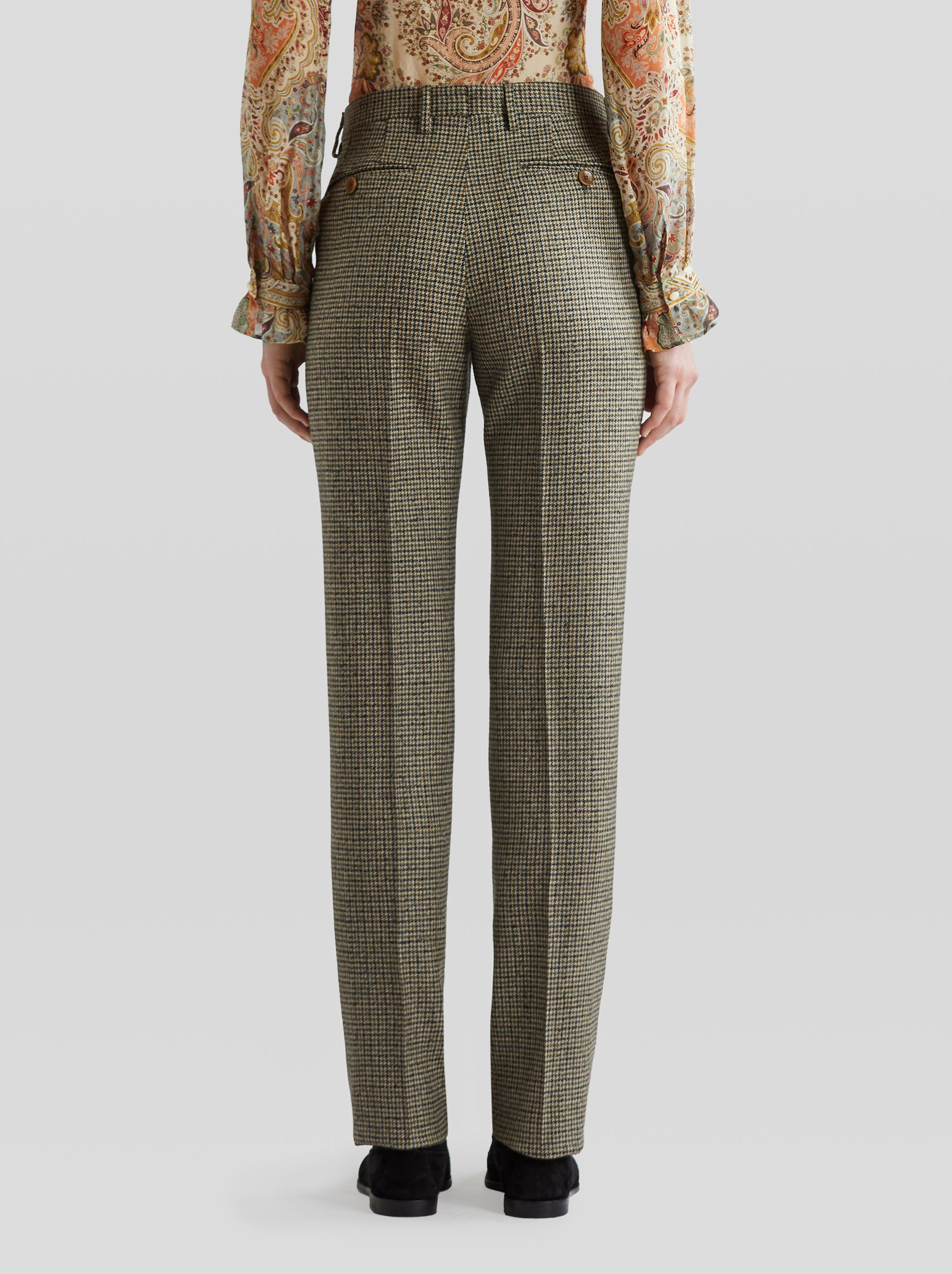 HOUNDSTOOTH WOOL TROUSERS