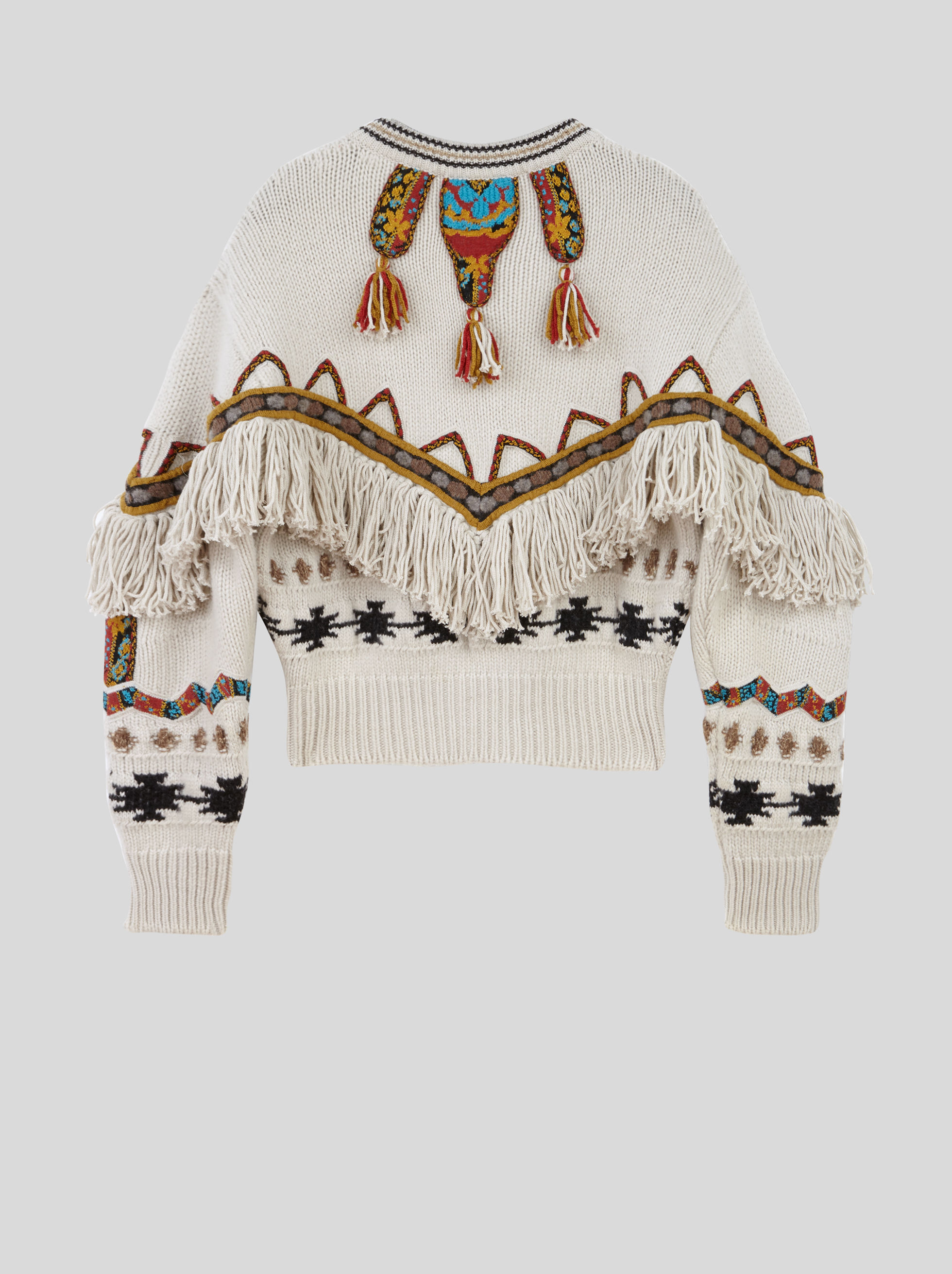 CARDIGAN WITH FRINGE AND INLAYS