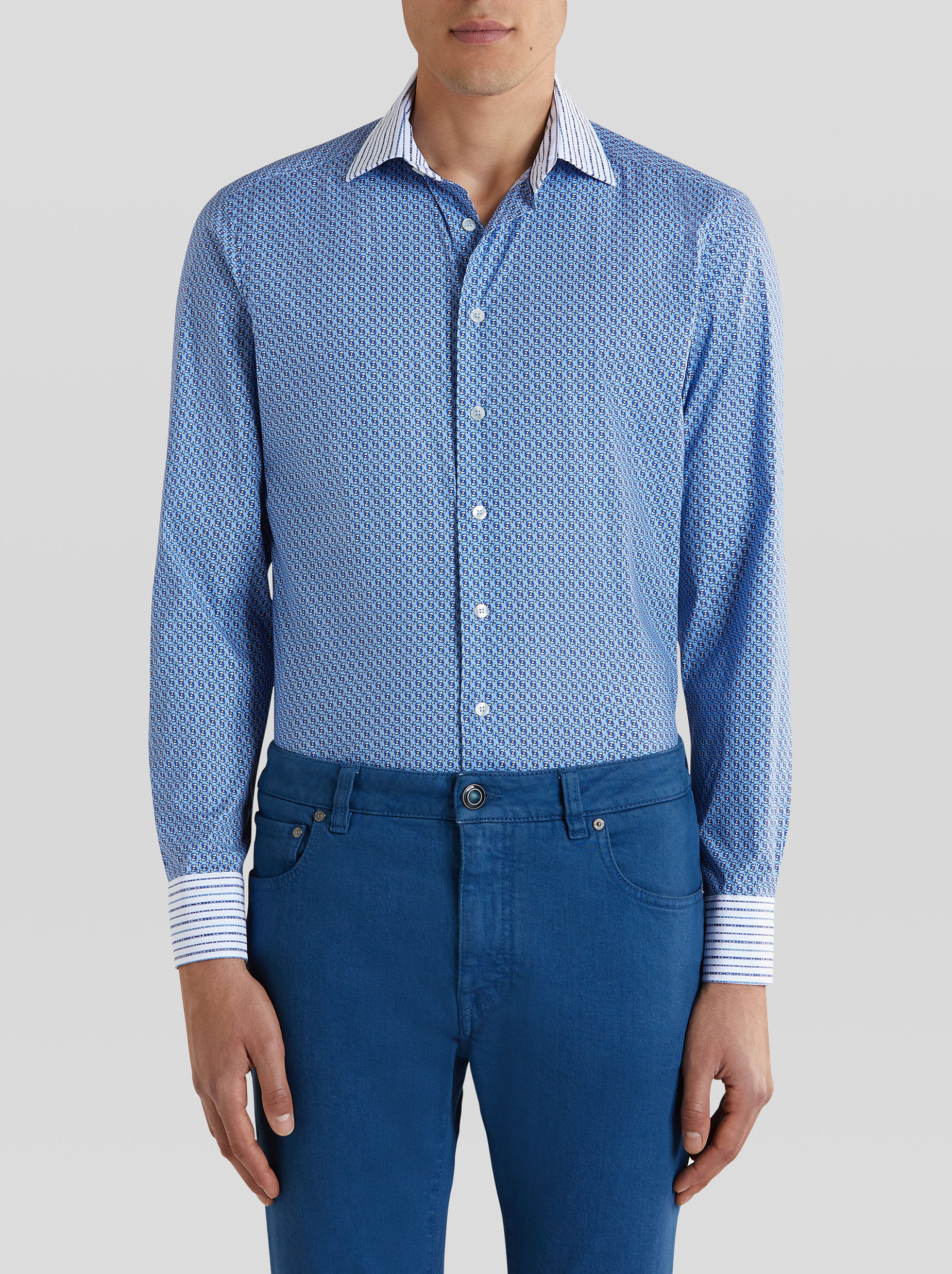Etro Cottons GEOMETRIC PRINT DOUBLE FABRIC COTTON SHIRT