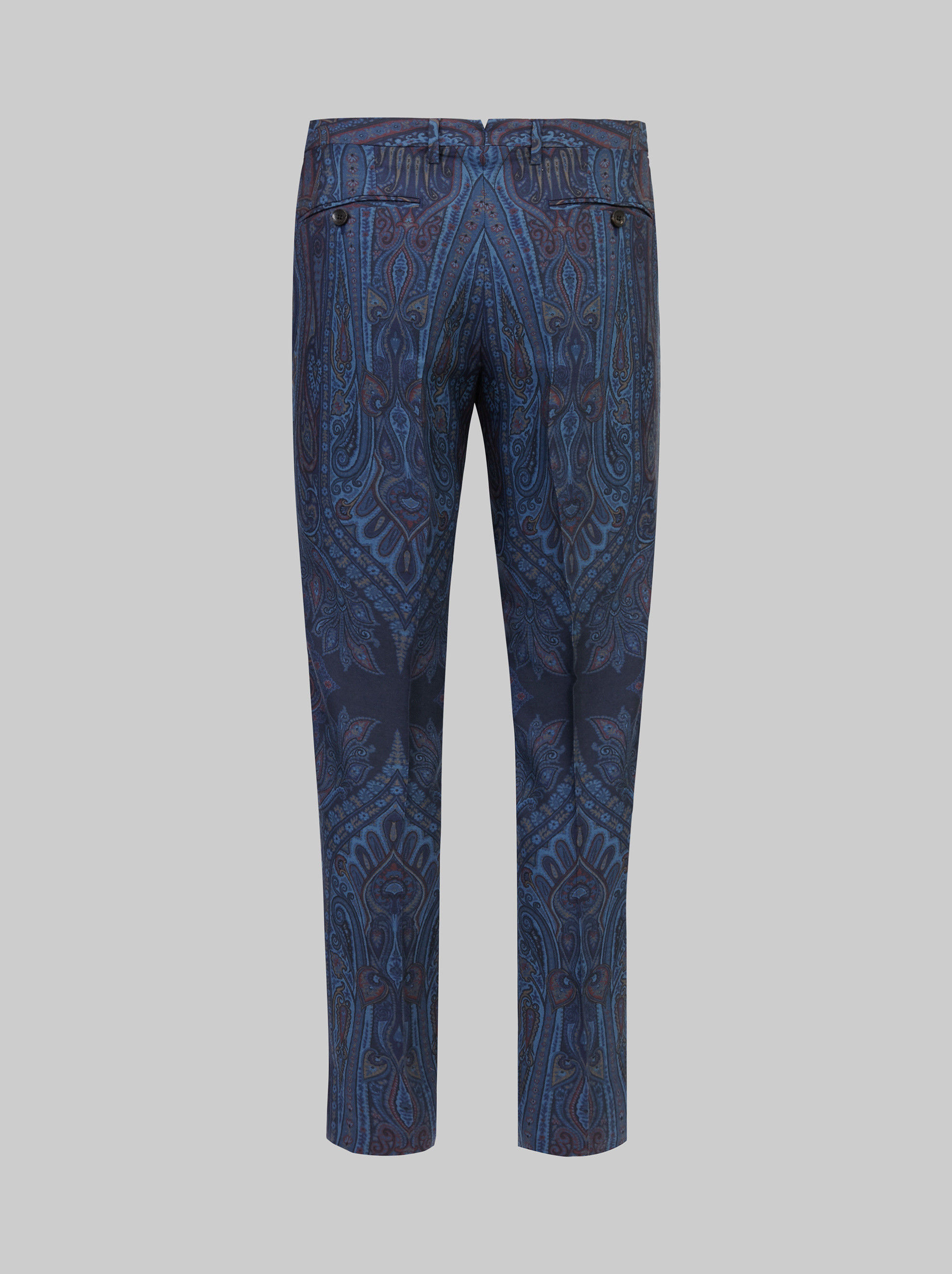 PAISLEY PRINT WOOL TAILORED TROUSERS