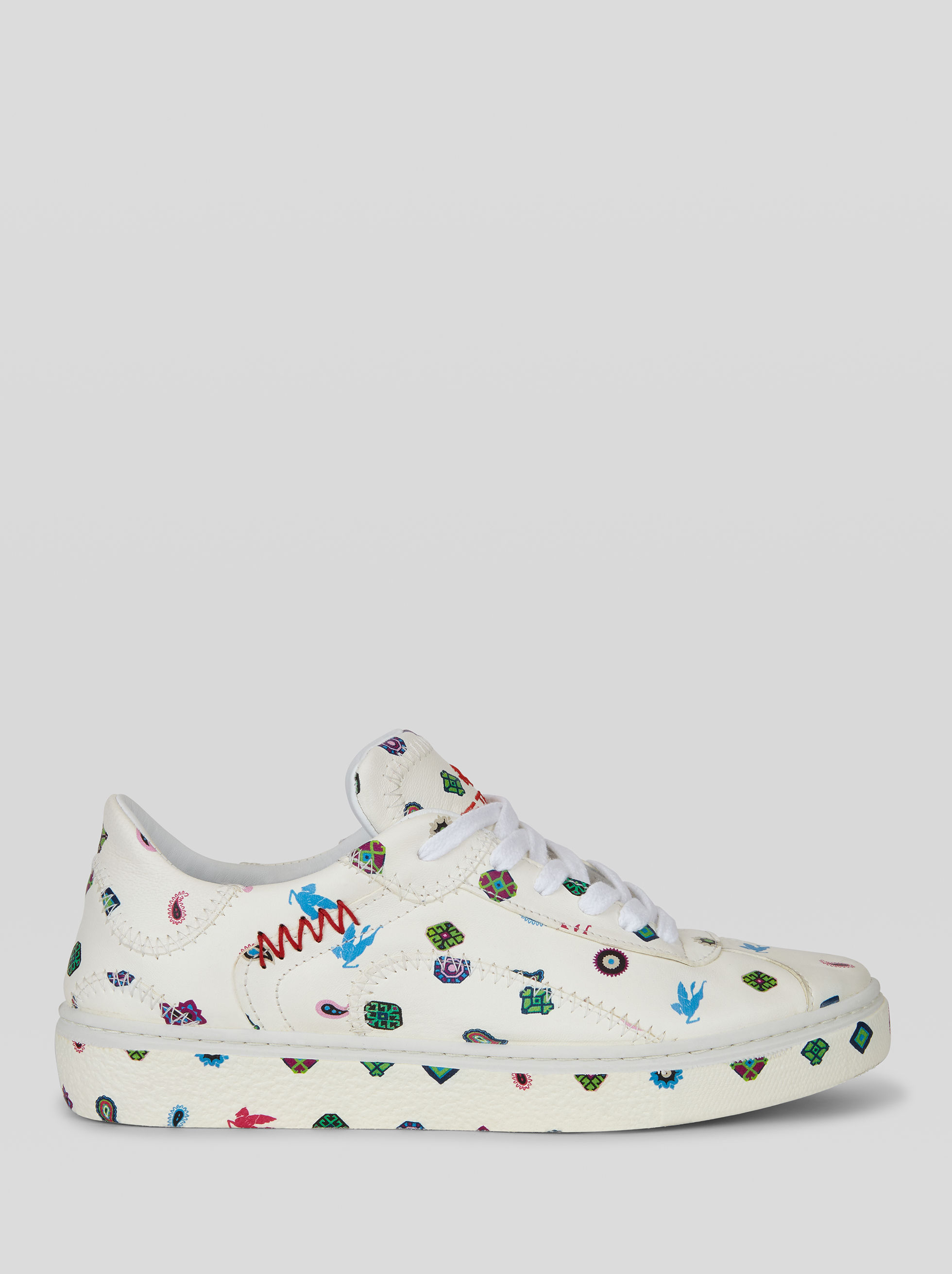 MULTI-COLOURED PRINT LEATHER SNEAKERS