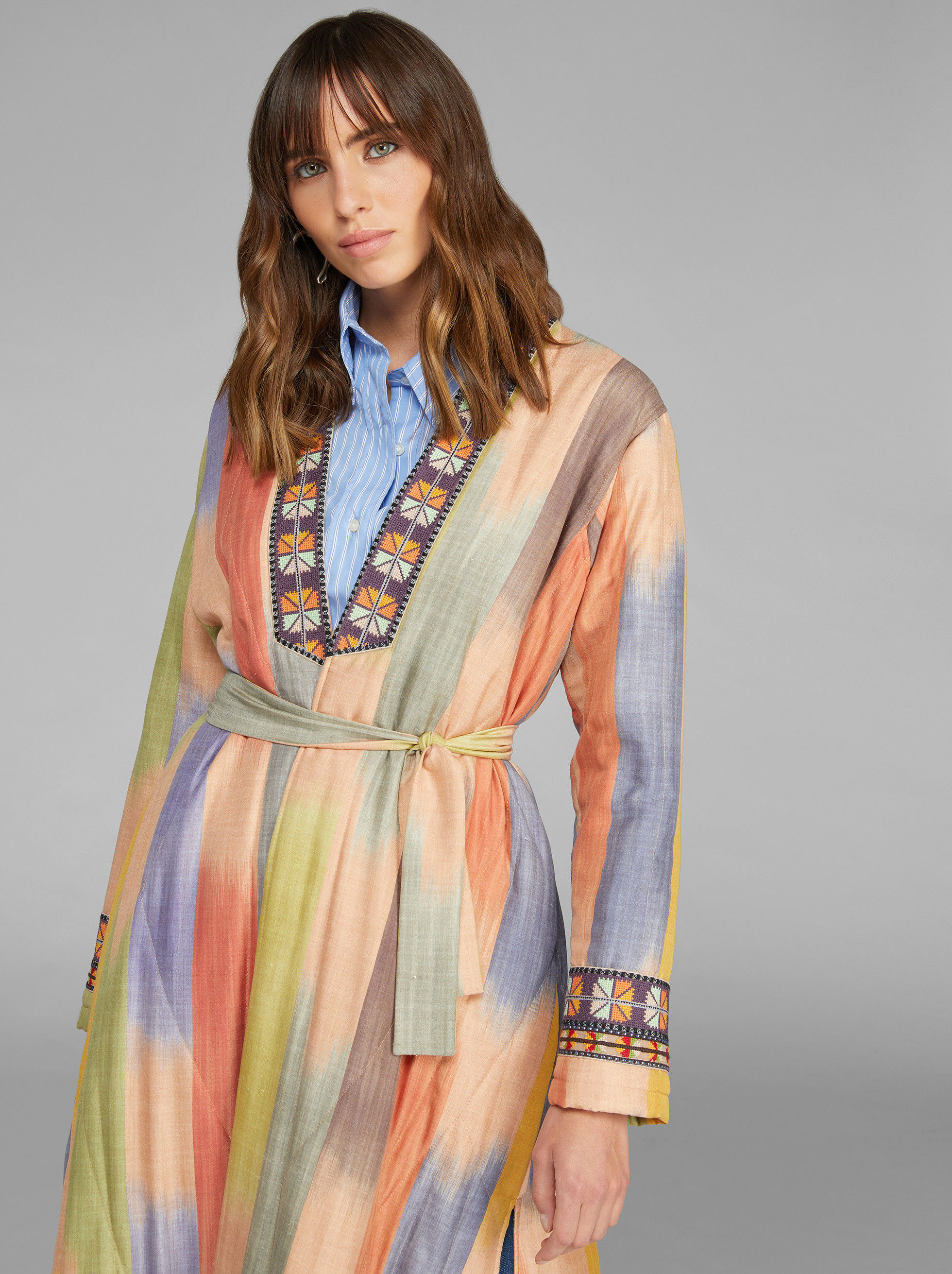 MAXI COAT WITH IKAT PRINT