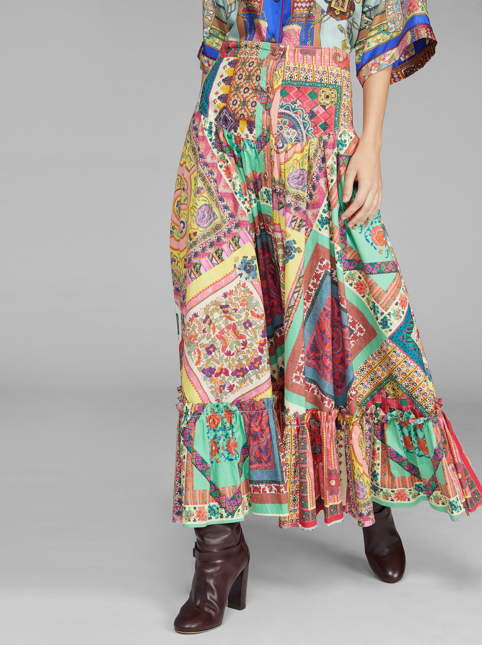 PATCHWORK PRINT SKIRT WITH RUCHES
