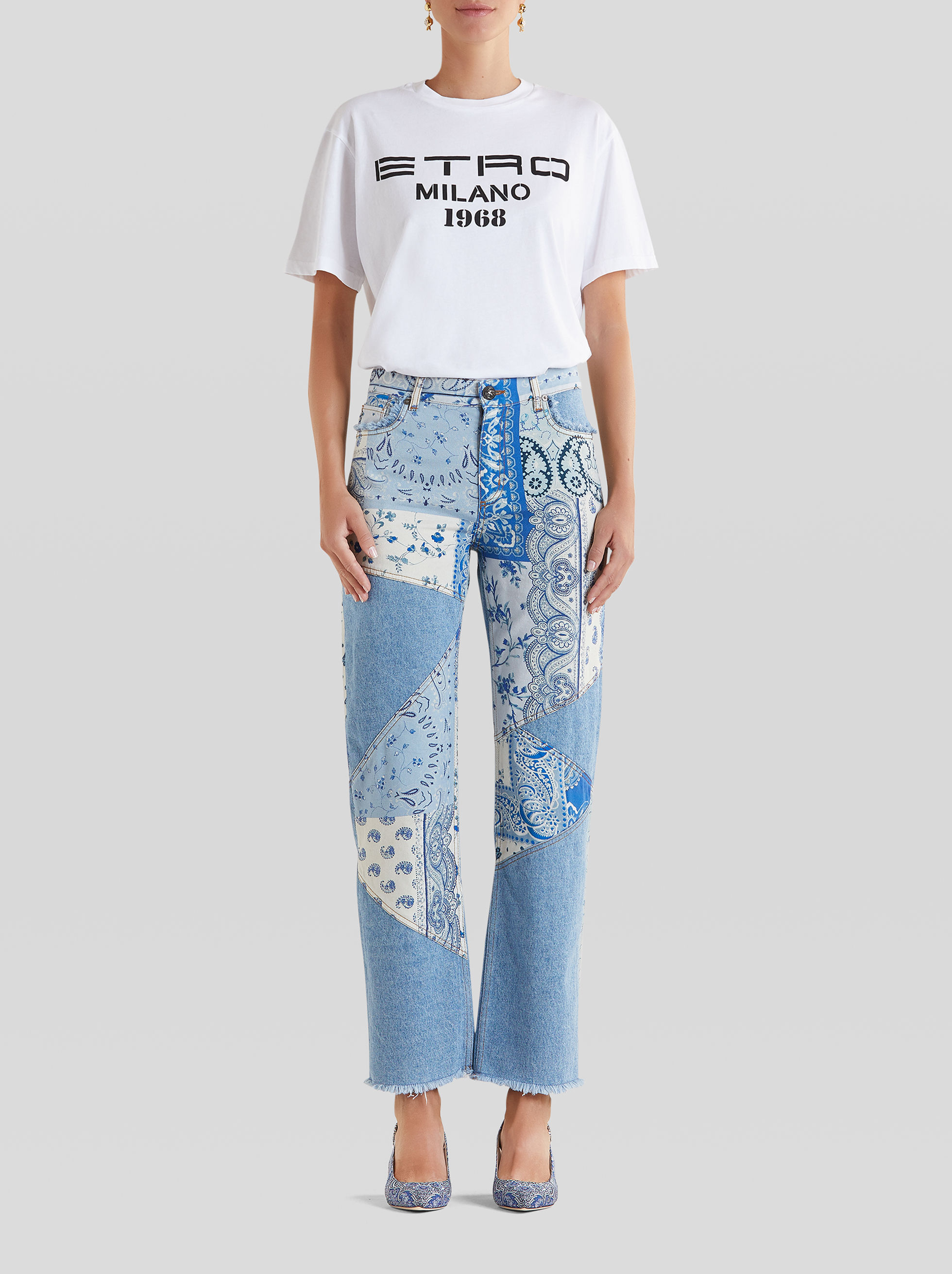 JEANS STAMPA PATCHWORK