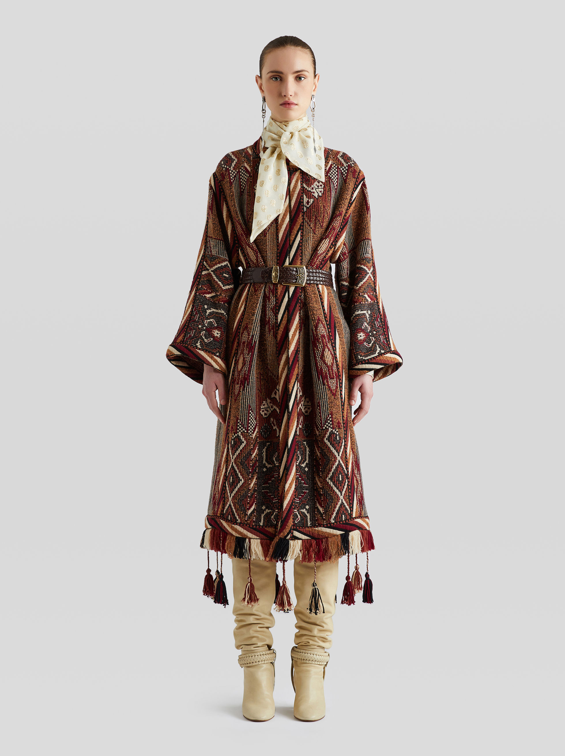 JACQUARD COAT WITH TASSELS