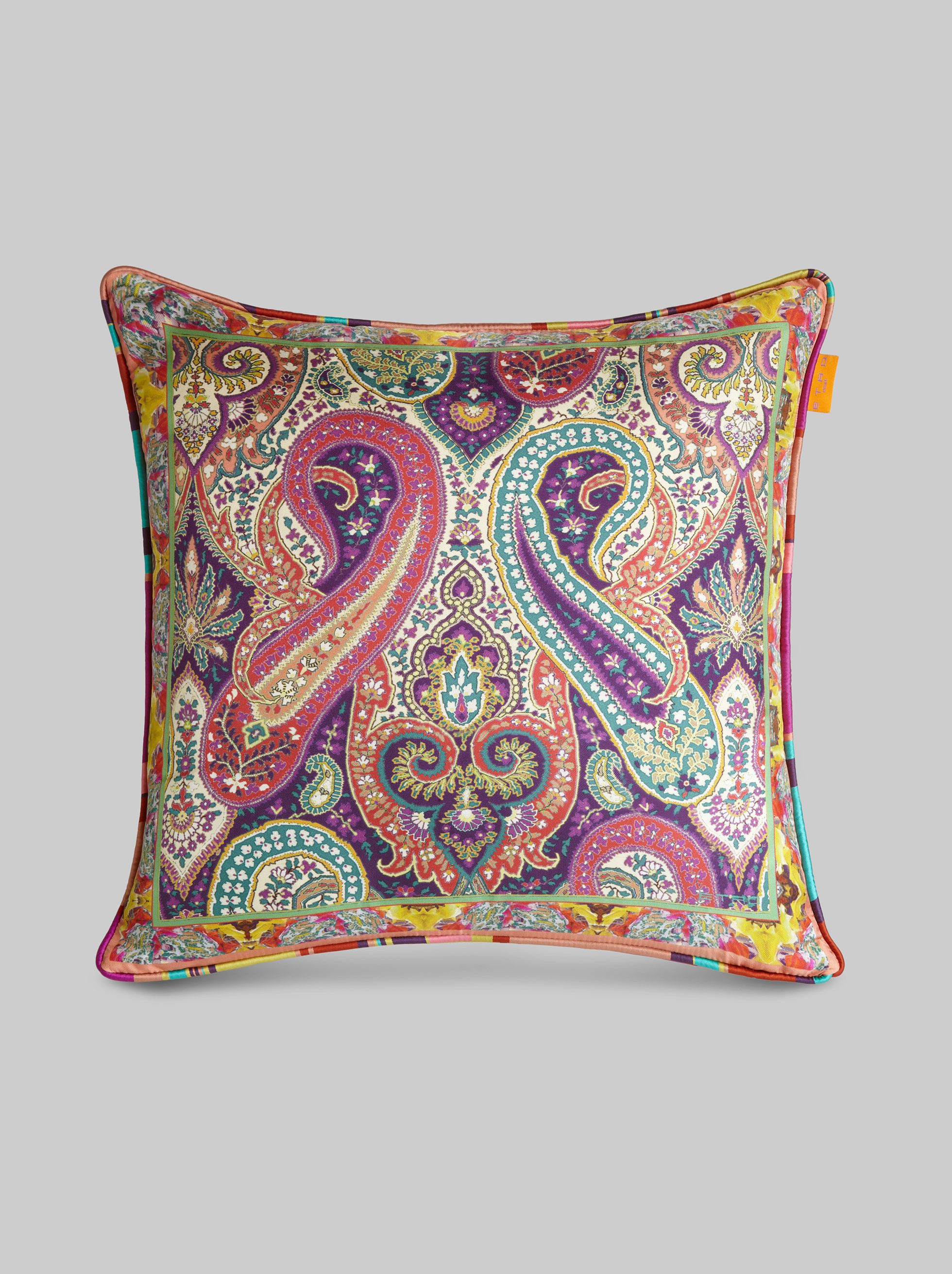 SILK CUSHION WITH MULTI-COLOURED PRINT