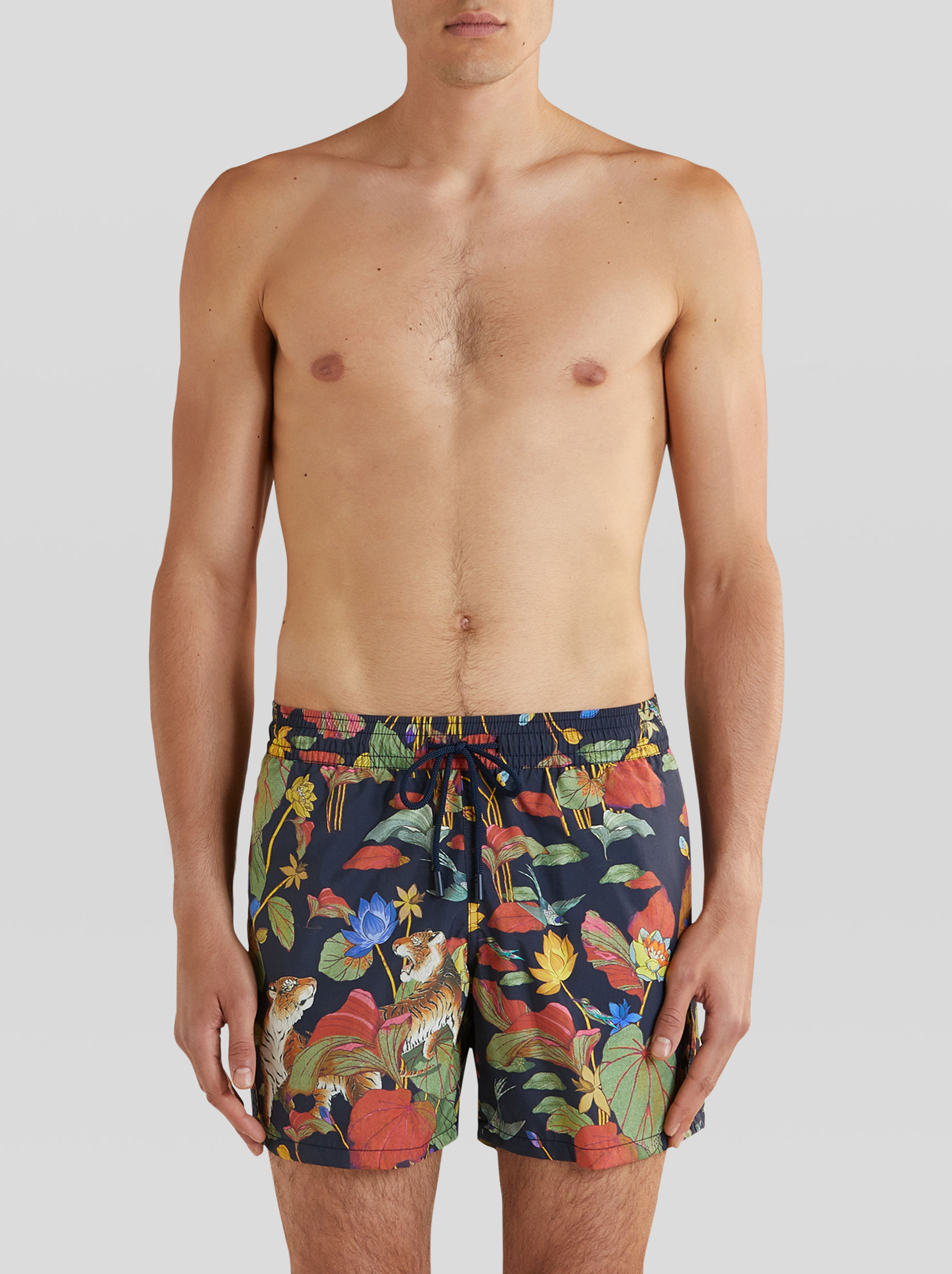 TIGER AND WATER LILY PRINT SWIM SHORTS