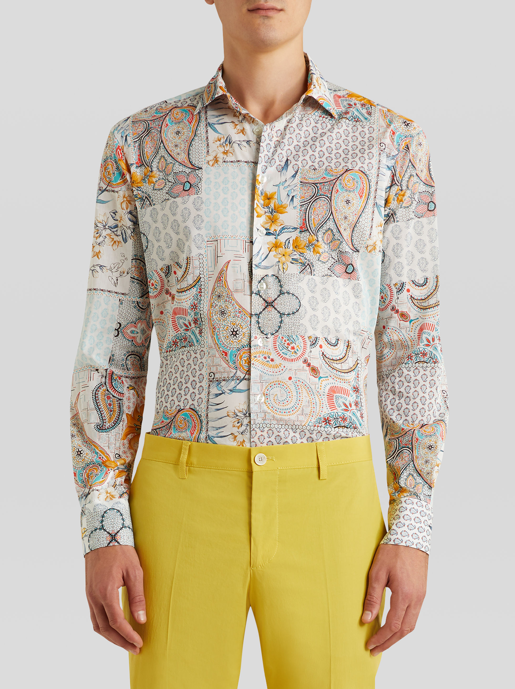 COTTON SHIRT WITH PATCHWORK PRINT