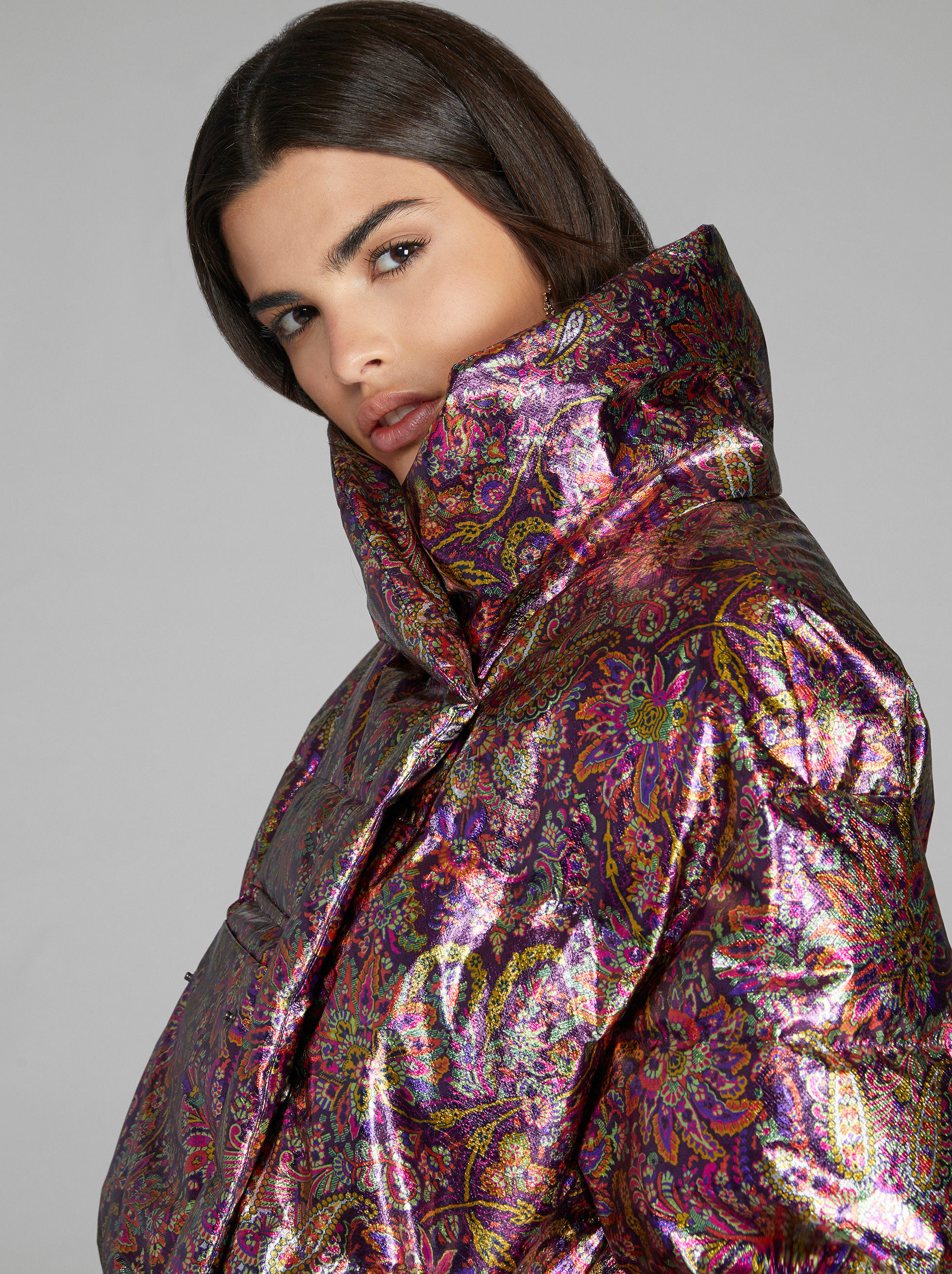 LAMINATED PAISLEY PRINT DOWN JACKET