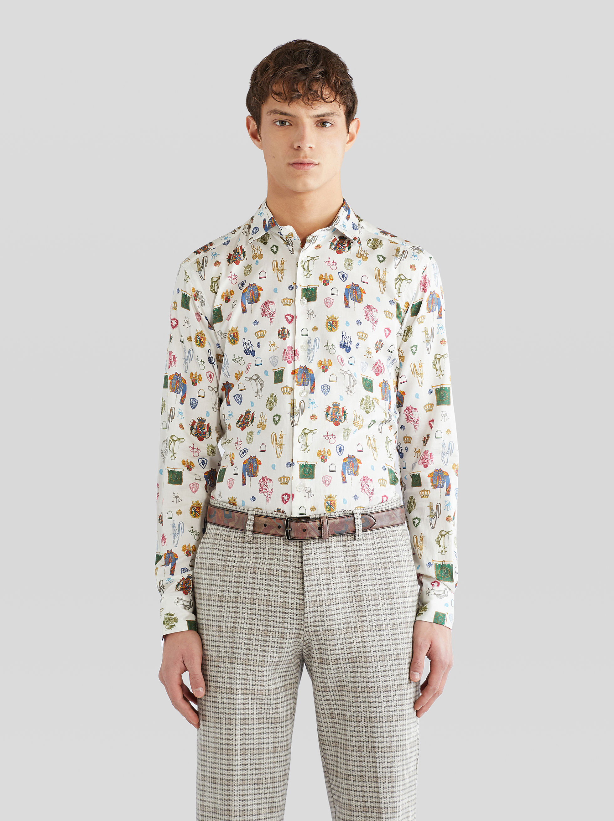 COTTON SHIRT WITH EQUESTRIAN PRINT