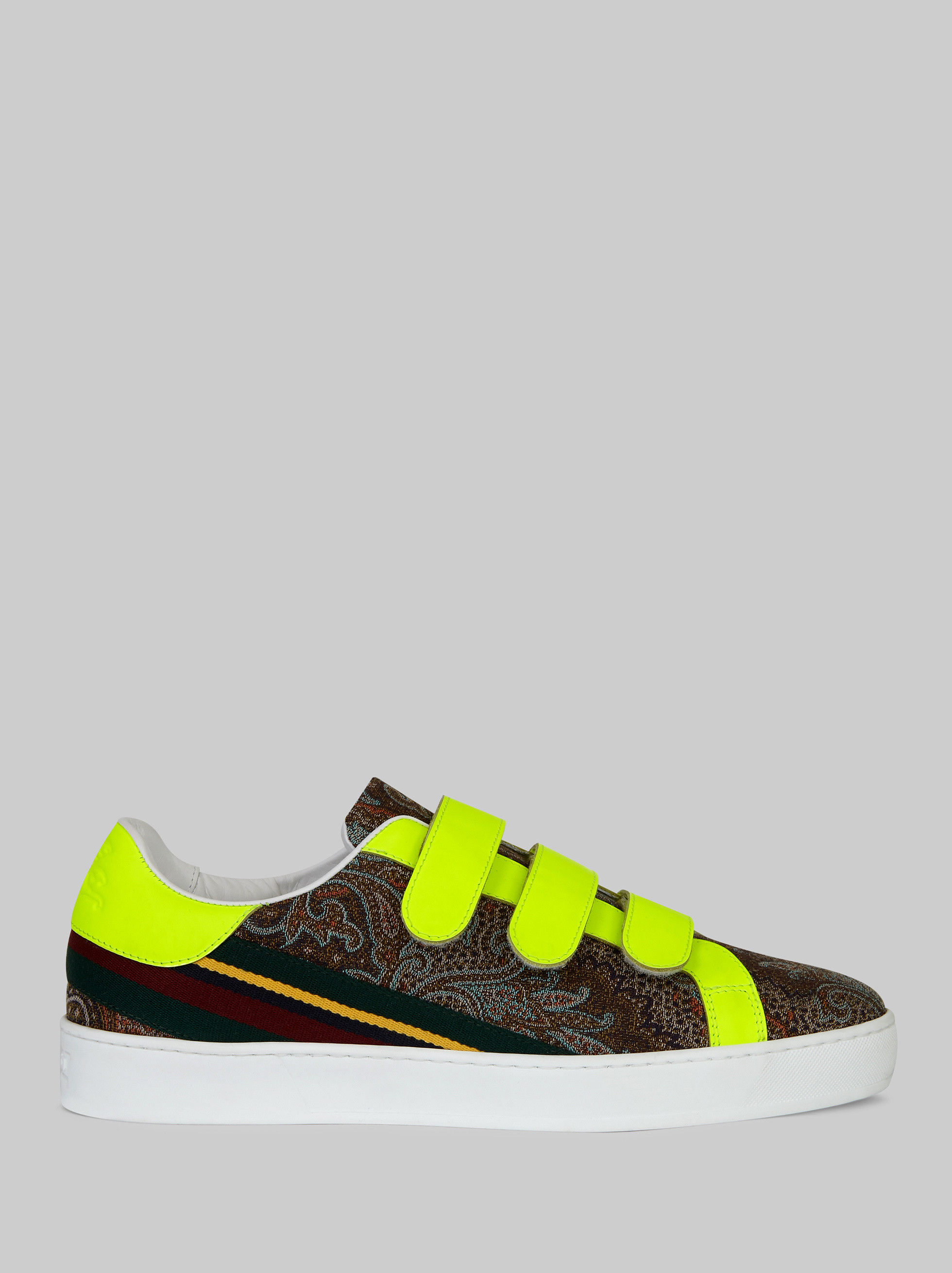 PAISLEY SNEAKERS WITH RIBBON AND FLUO DETAILING