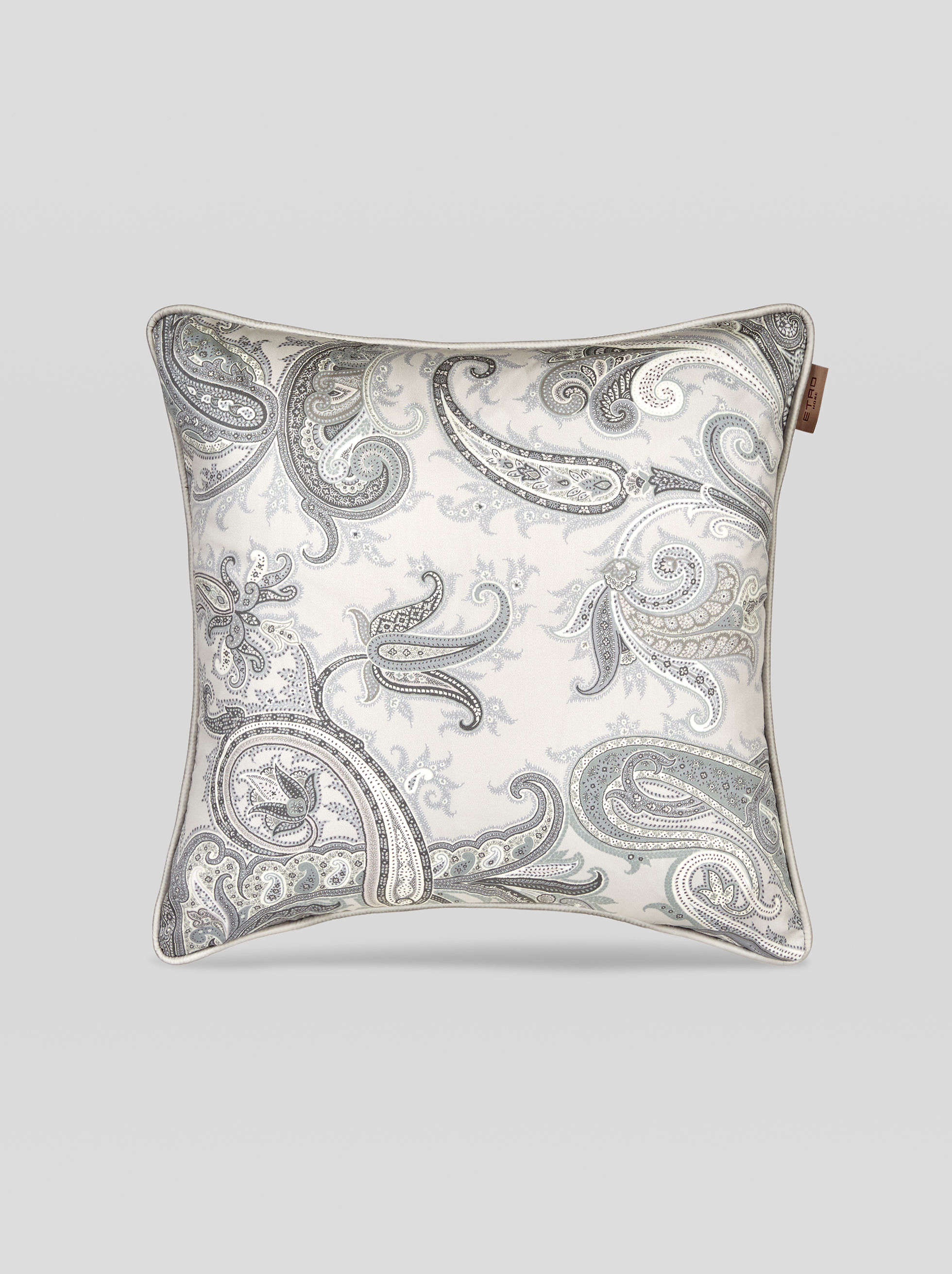 SATEEN CUSHION WITH LEAFY PAISLEY DECORATIONS