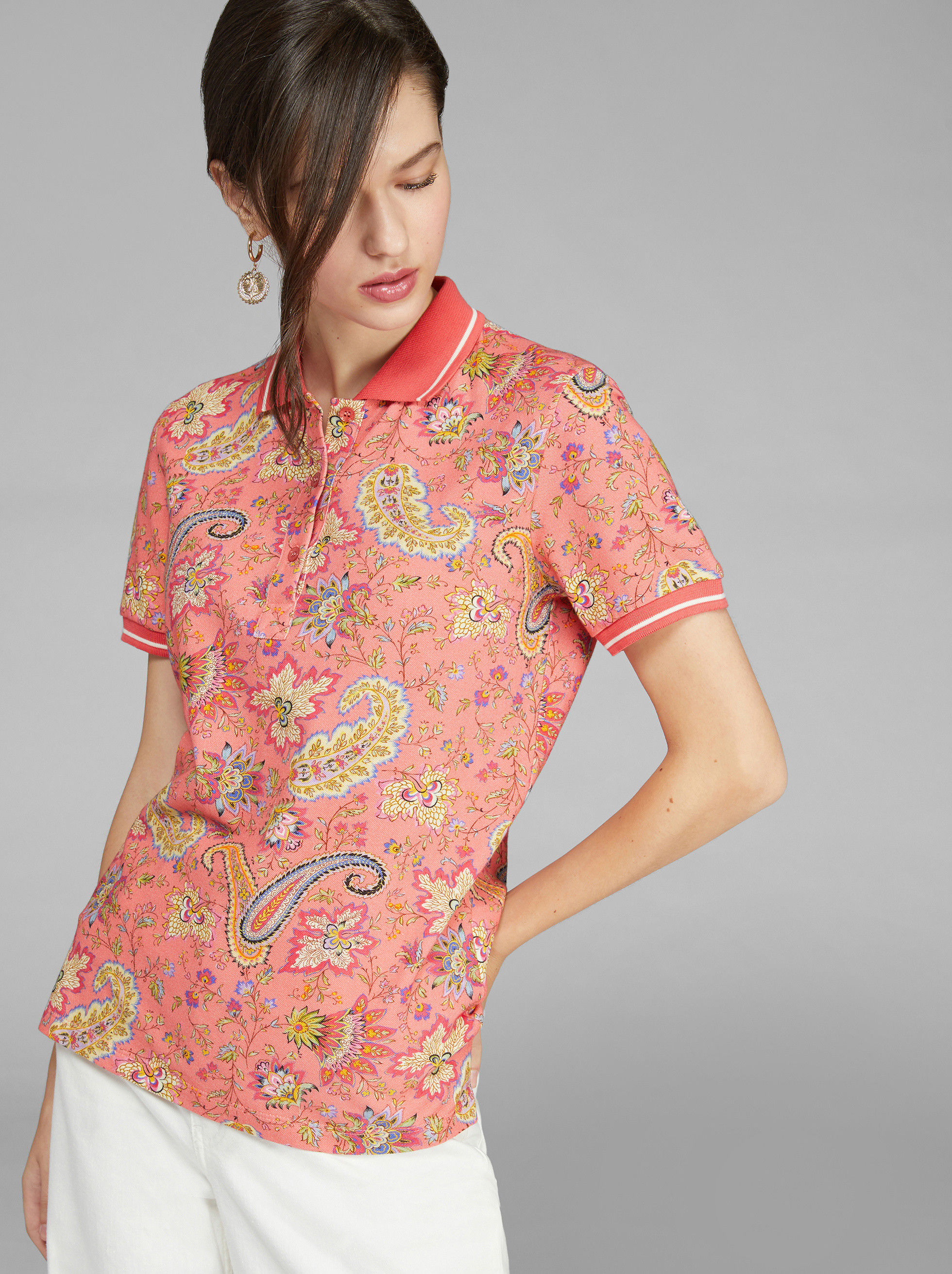 POLO SHIRT WITH PAISLEY DETAILS