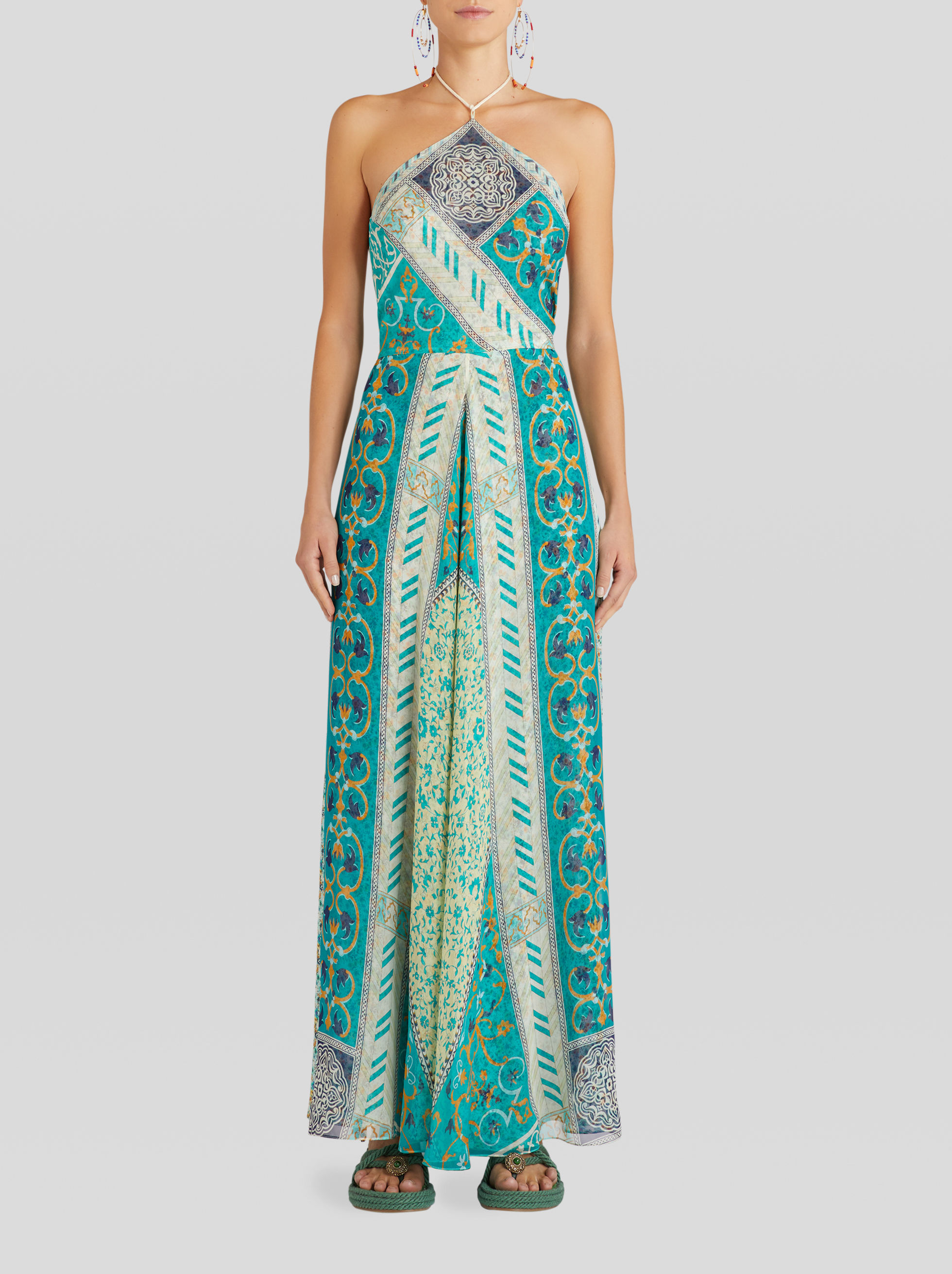 LONG FLORAL PATCHWORK PRINT SILK DRESS