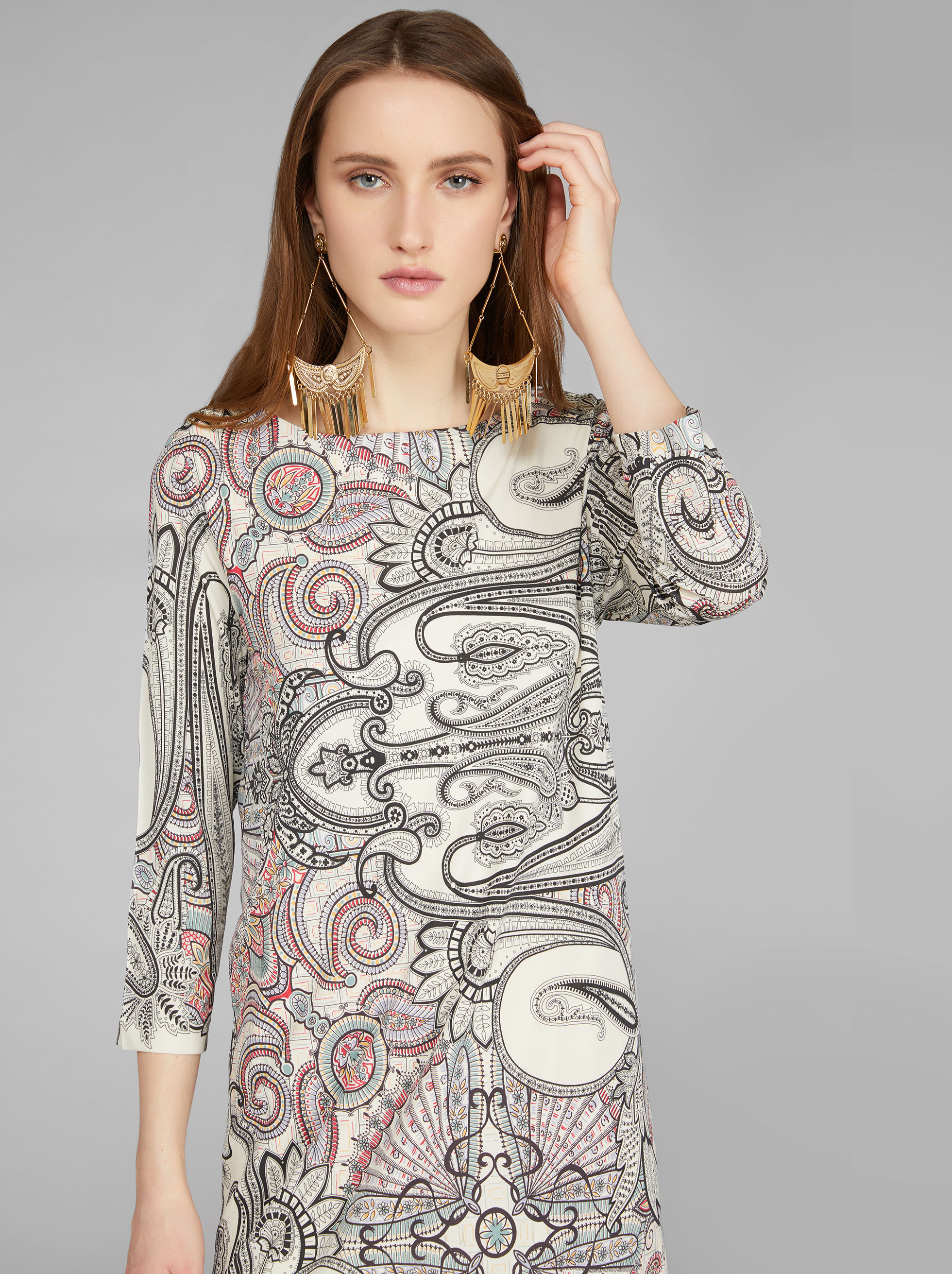 PAISLEY PRINT JERSEY TUNIC DRESS