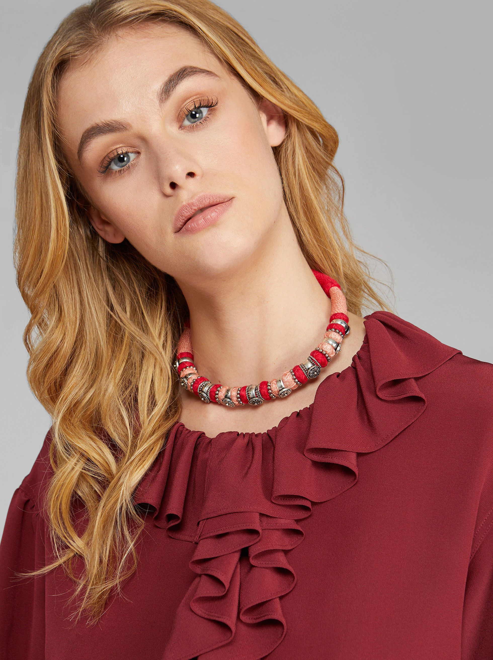 CORD AND METAL COLLAR NECKLACE