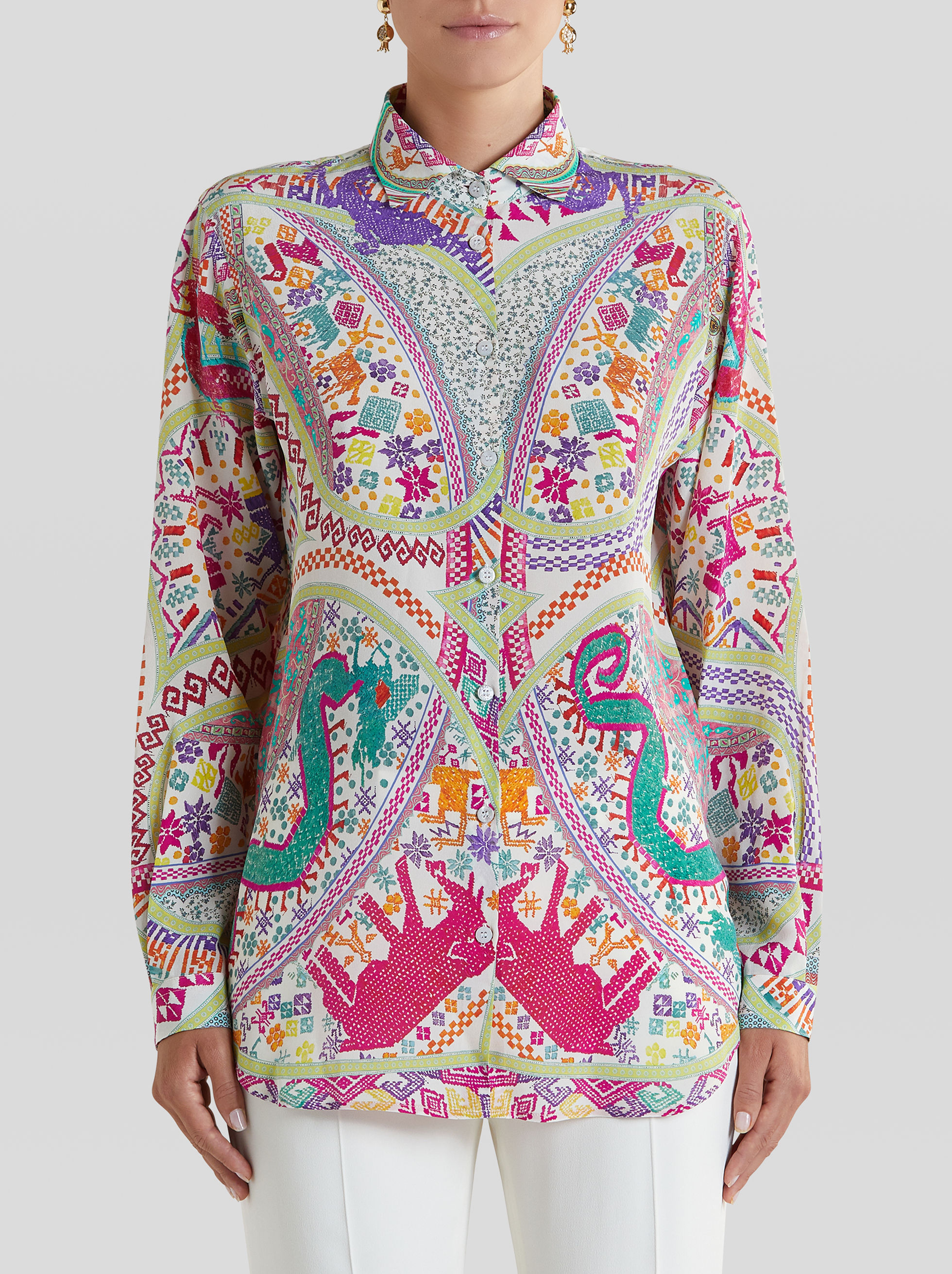 EMBROIDERY-EFFECT PRINT CRÊPE DE CHINE SHIRT