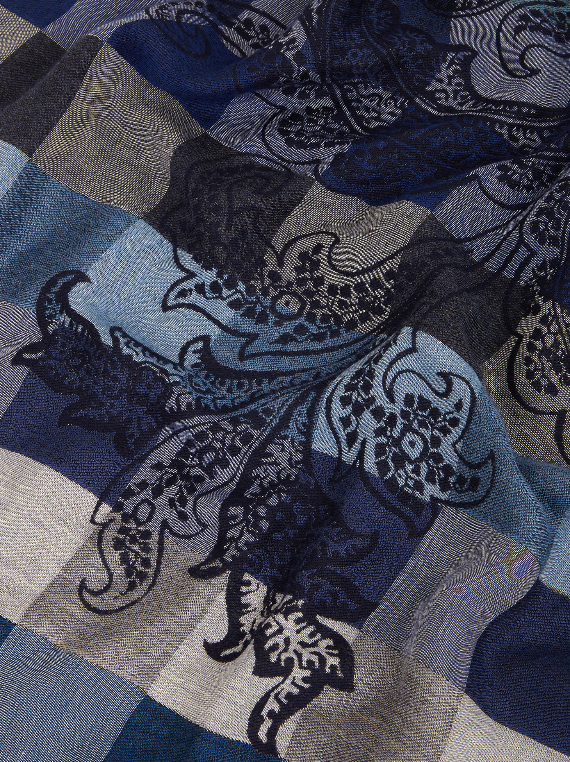 VICHY JACQUARD SCARF WITH PAISLEY