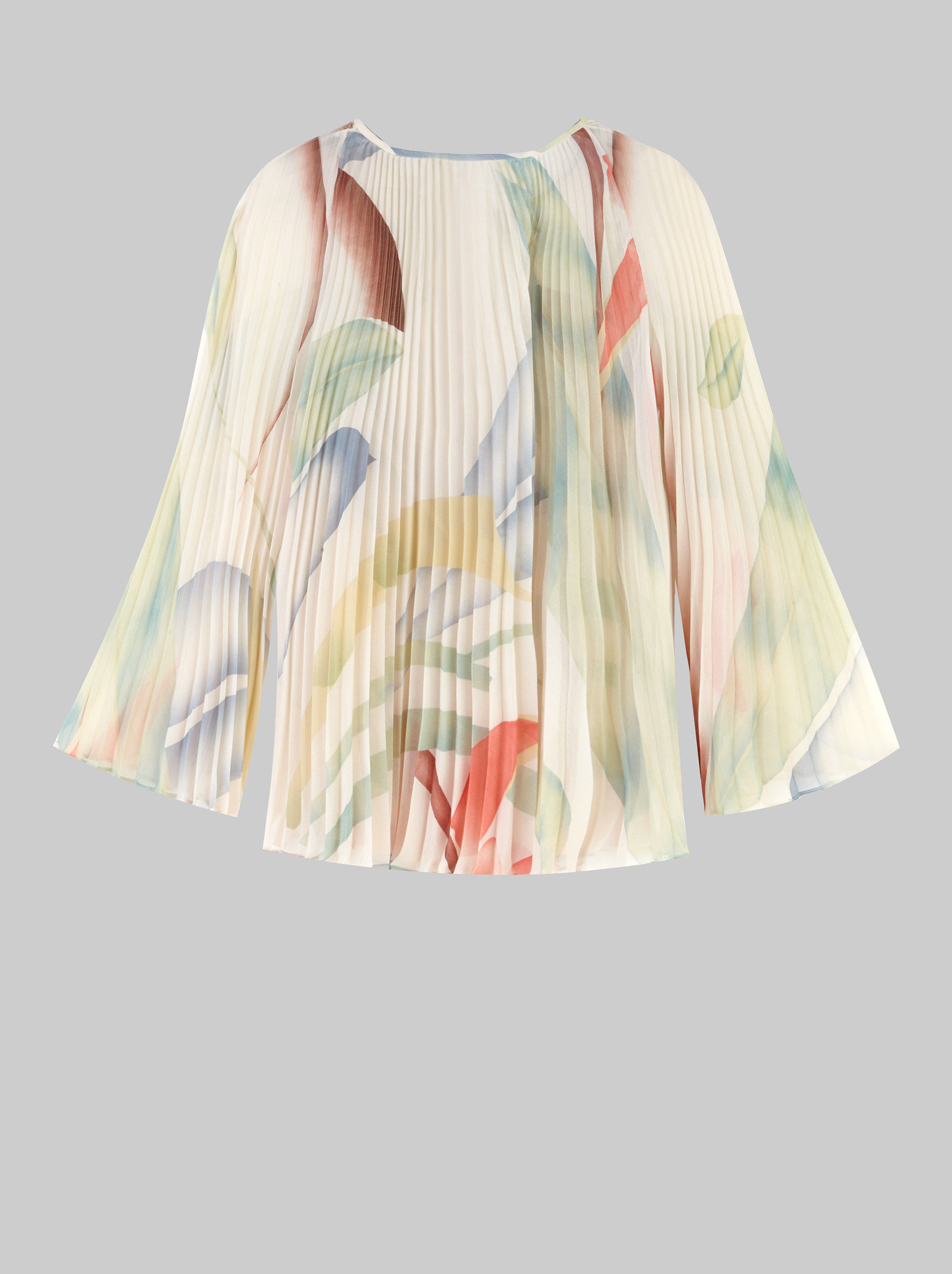 FOLIAGE PRINT PLEATED BLOUSE