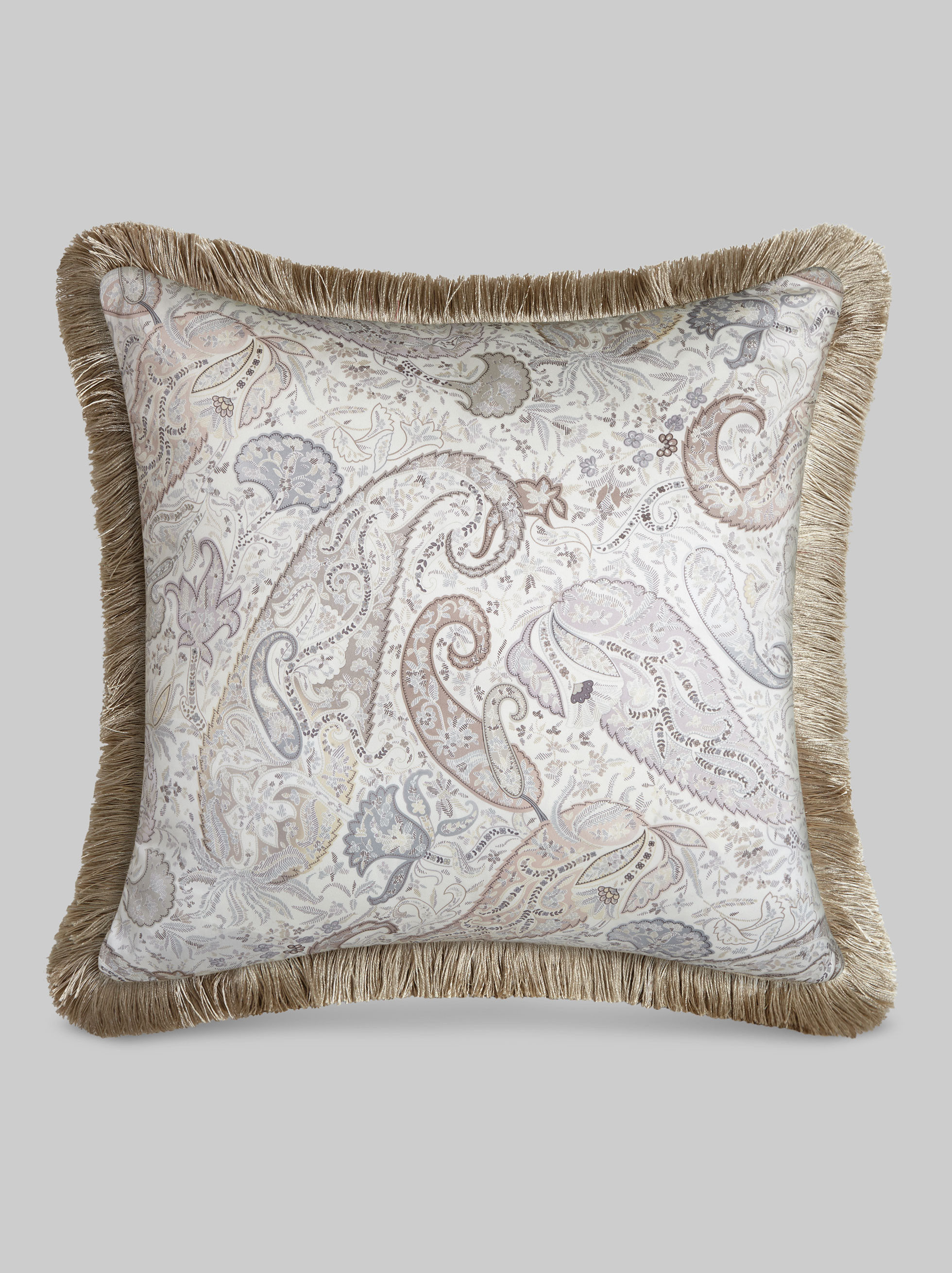 CUSHION WITH SATIN PAISLEY PRINT