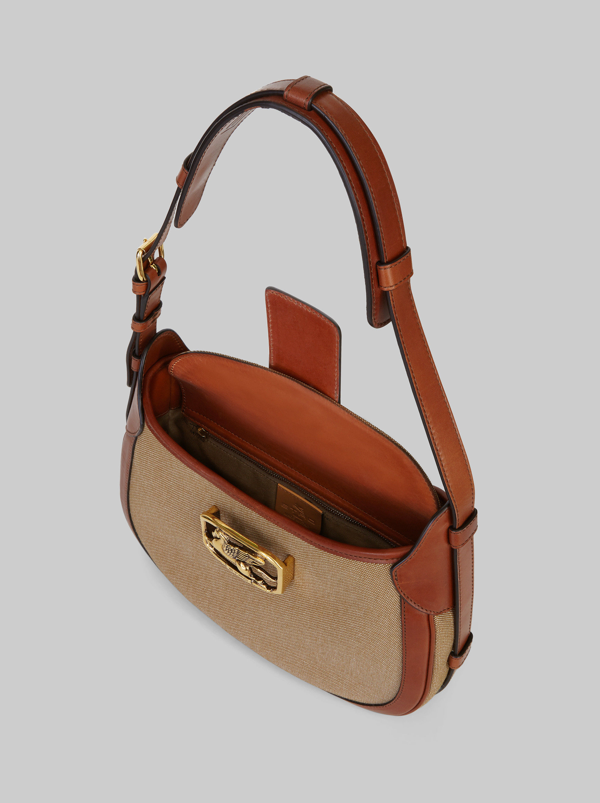 LEATHER AND CANVAS PEGASO BAG