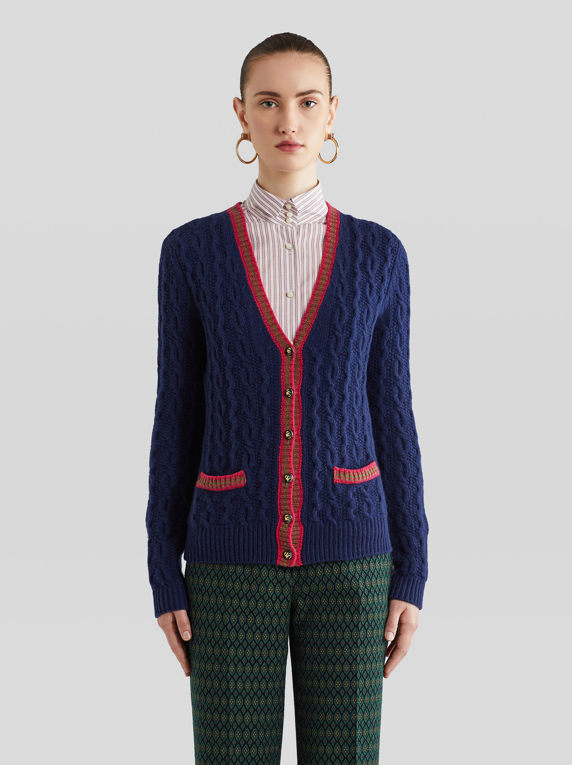 CABLED WOOL CARDIGAN