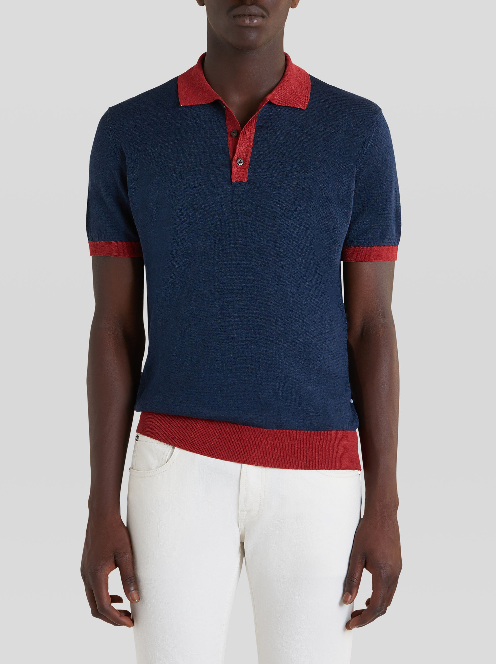 PATCHWORK LINEN POLO SHIRT