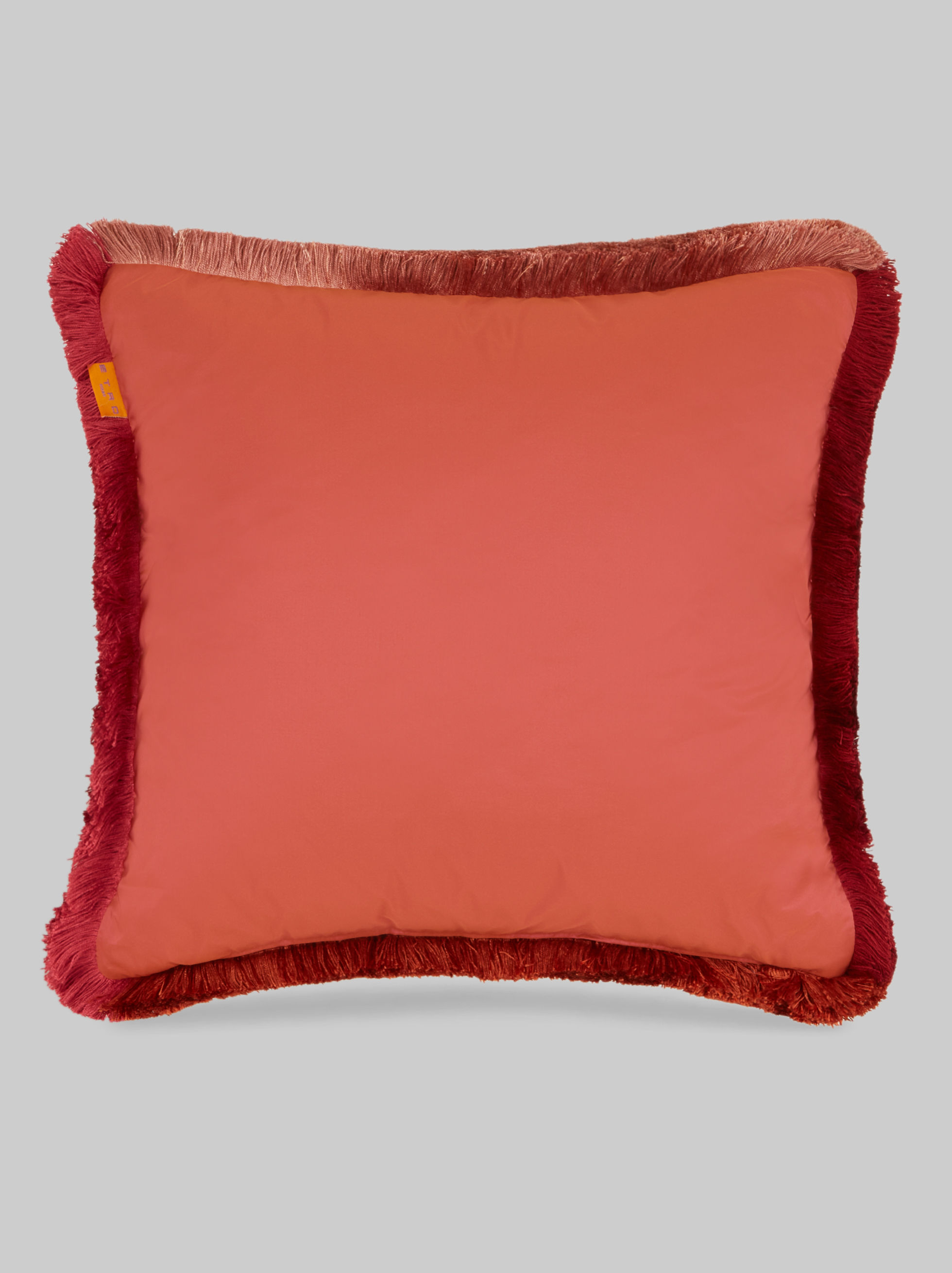 SILK TWILL CUSHION WITH FRINGED TRIMMING