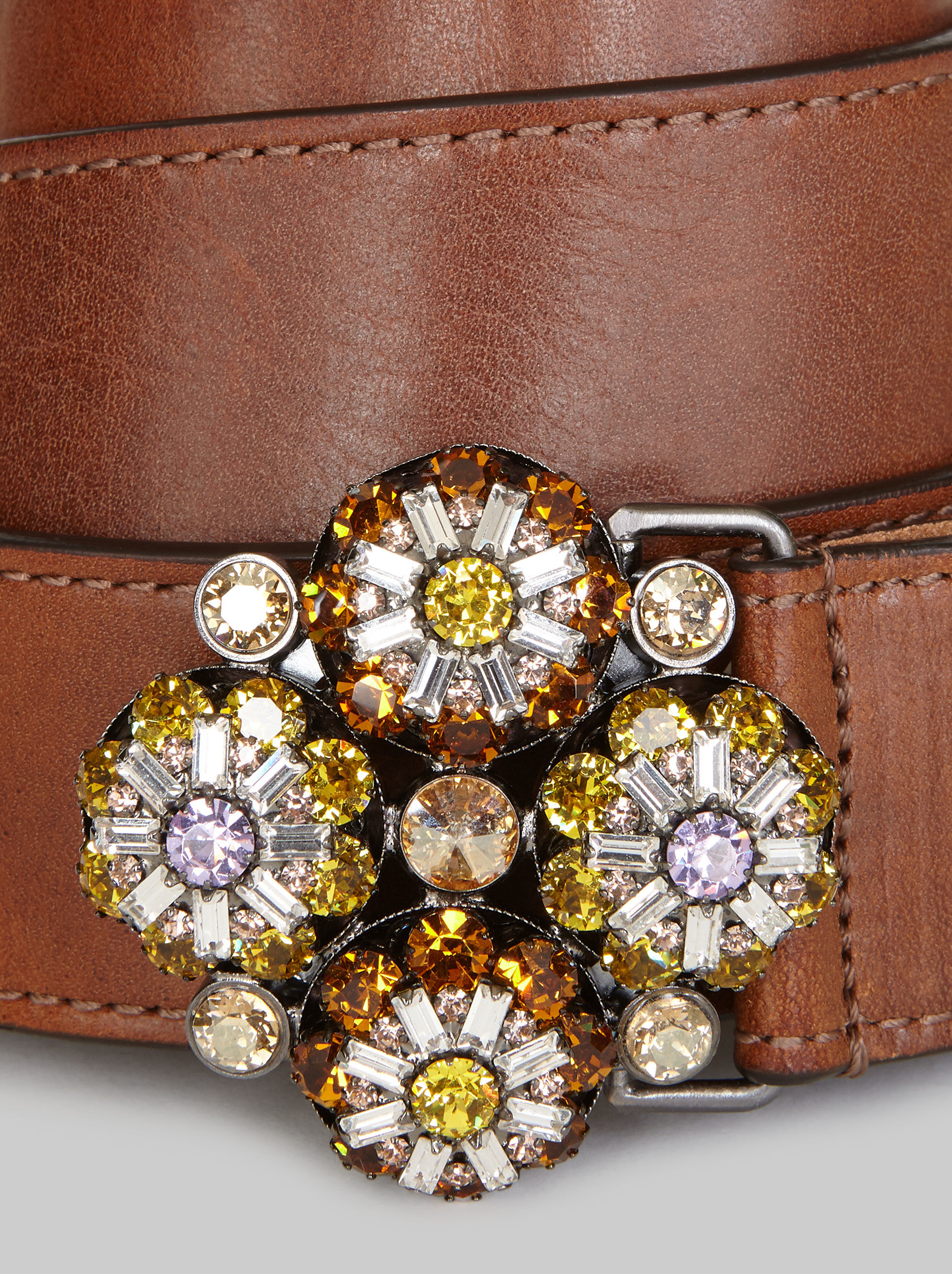 LEATHER BELT WITH JEWELLED BUCKLE
