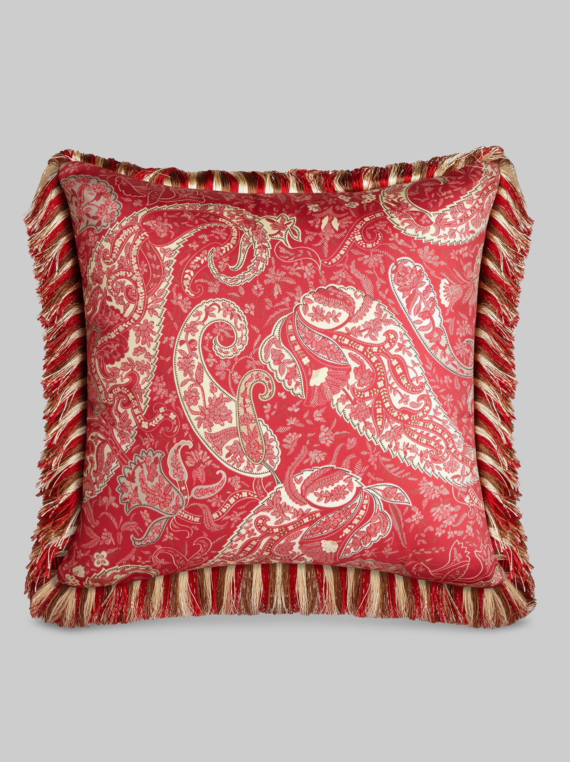 CUSCINO CON FRANGE STAMPA PAISLEY