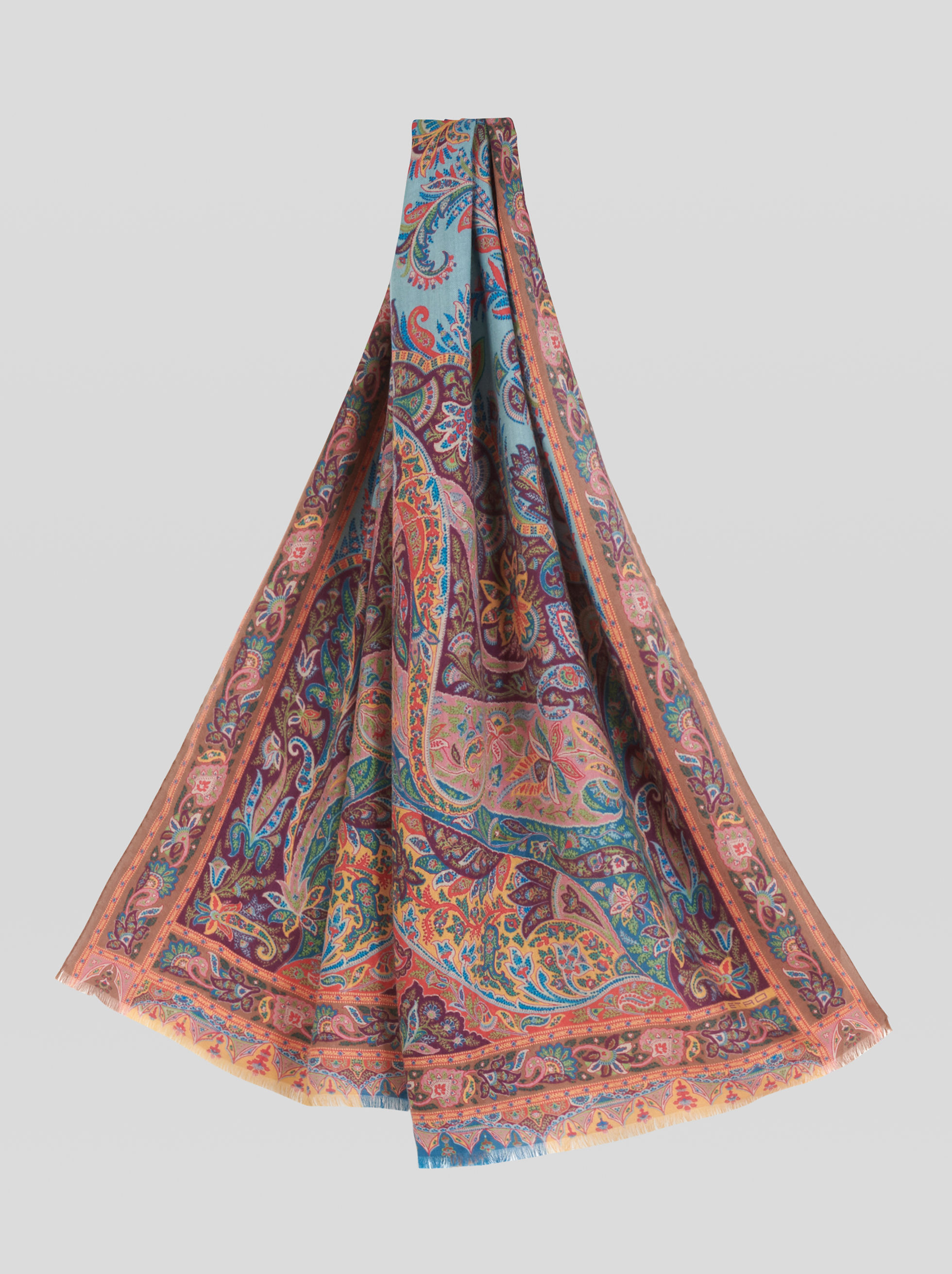 FLORAL PAISLEY CASHMERE AND SILK SCARF