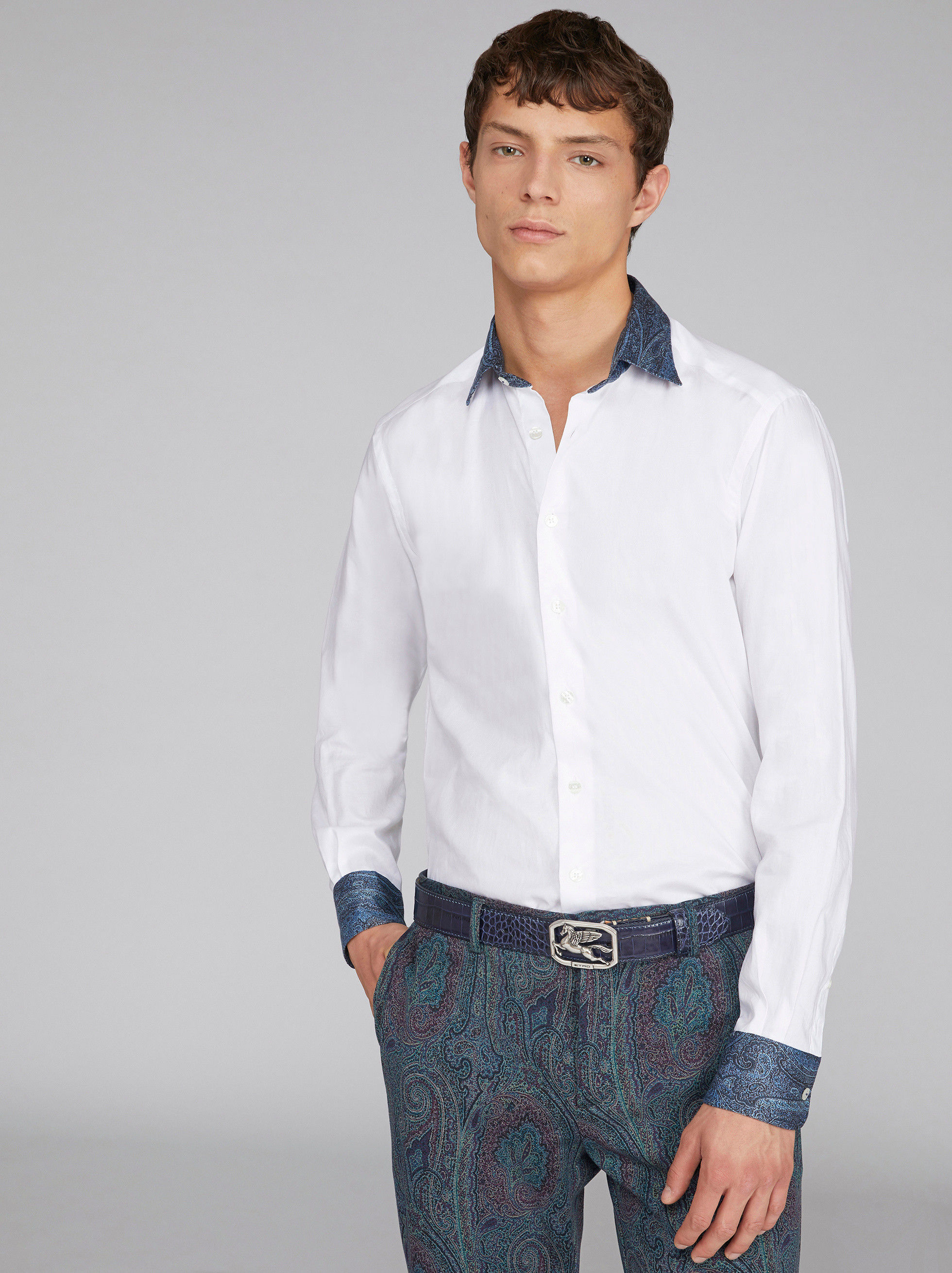 DUAL FABRIC SHIRT WITH PAISLEY DETAILS
