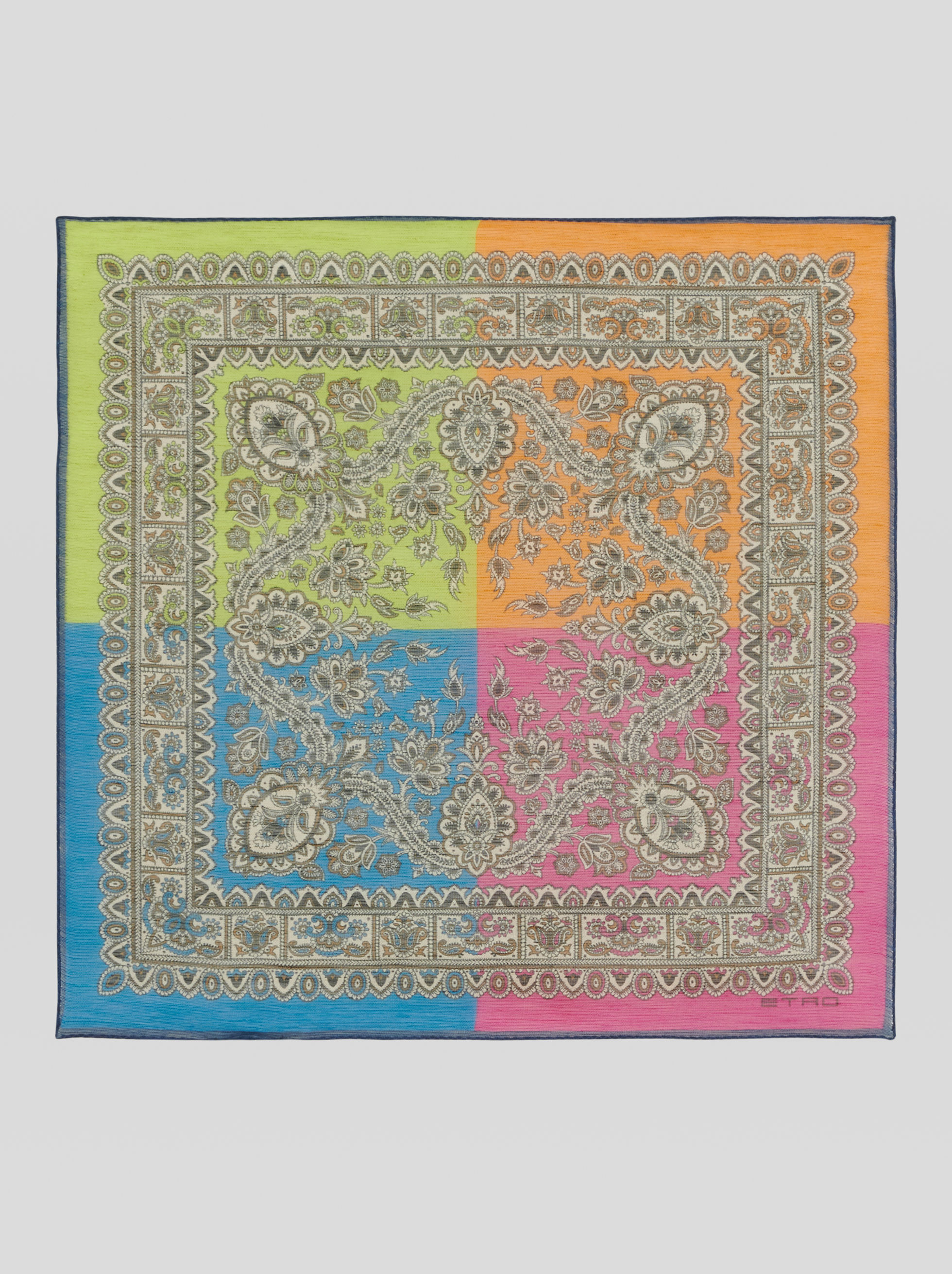 PAISLEY COLOUR BLOCK POCKET SQUARE