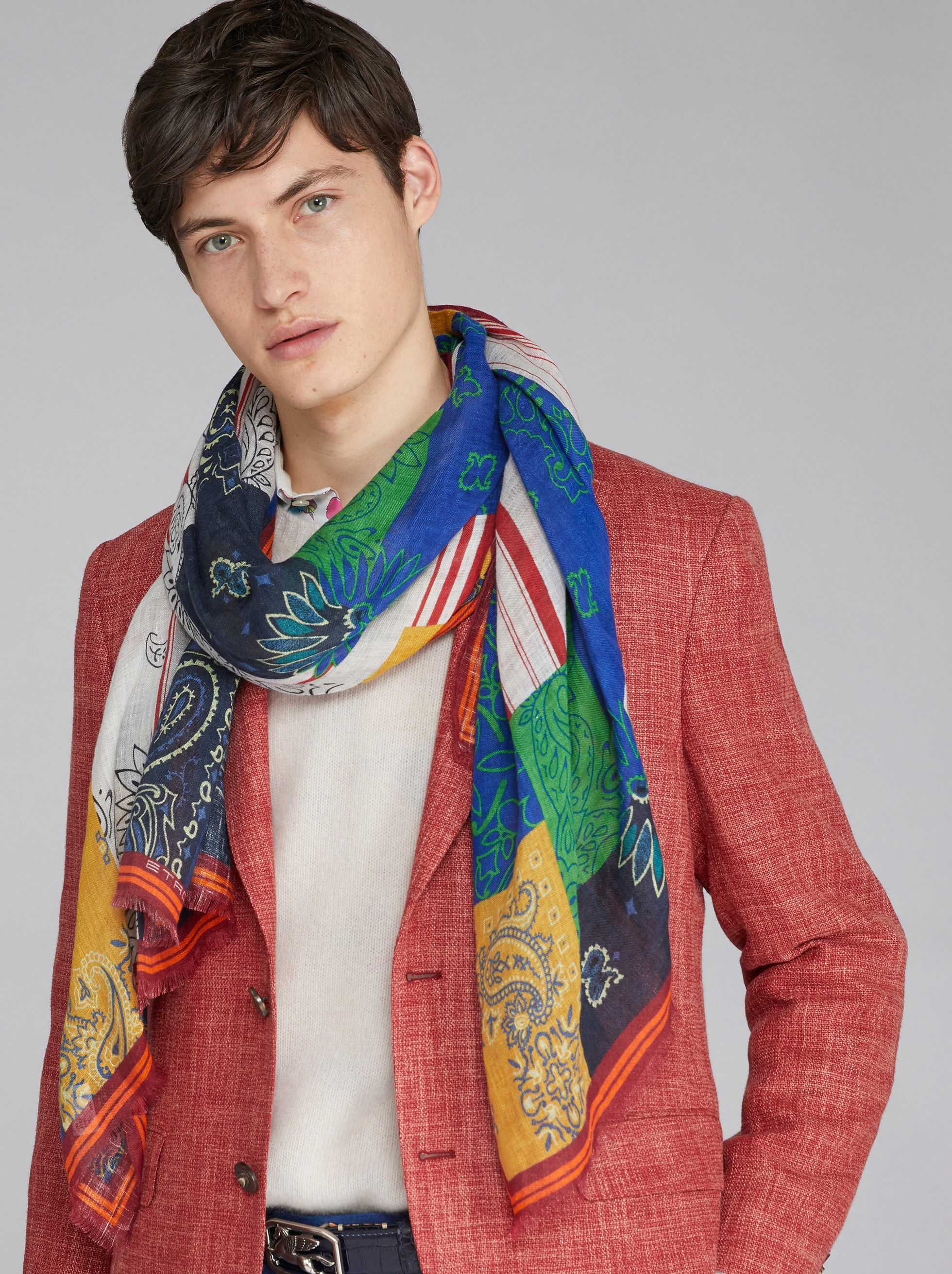 PAISLEY PATCHWORK PRINT SCARF